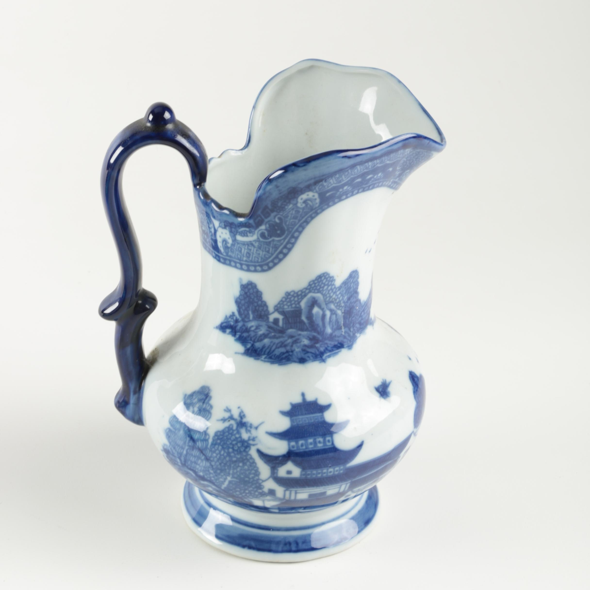 Blue and White Asian Style Pitcher