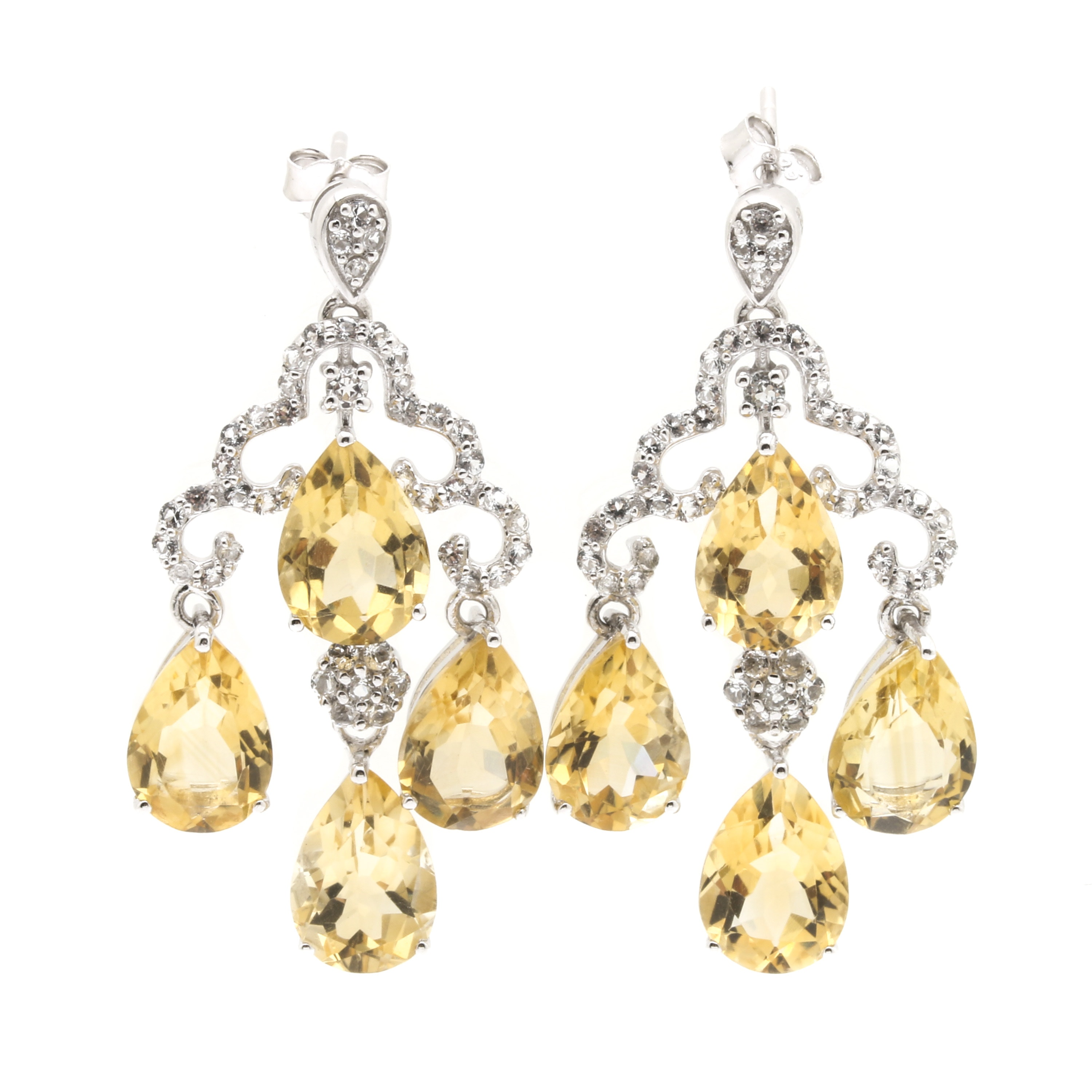 Sterling Silver Citrine and White Topaz Chandelier Earrings