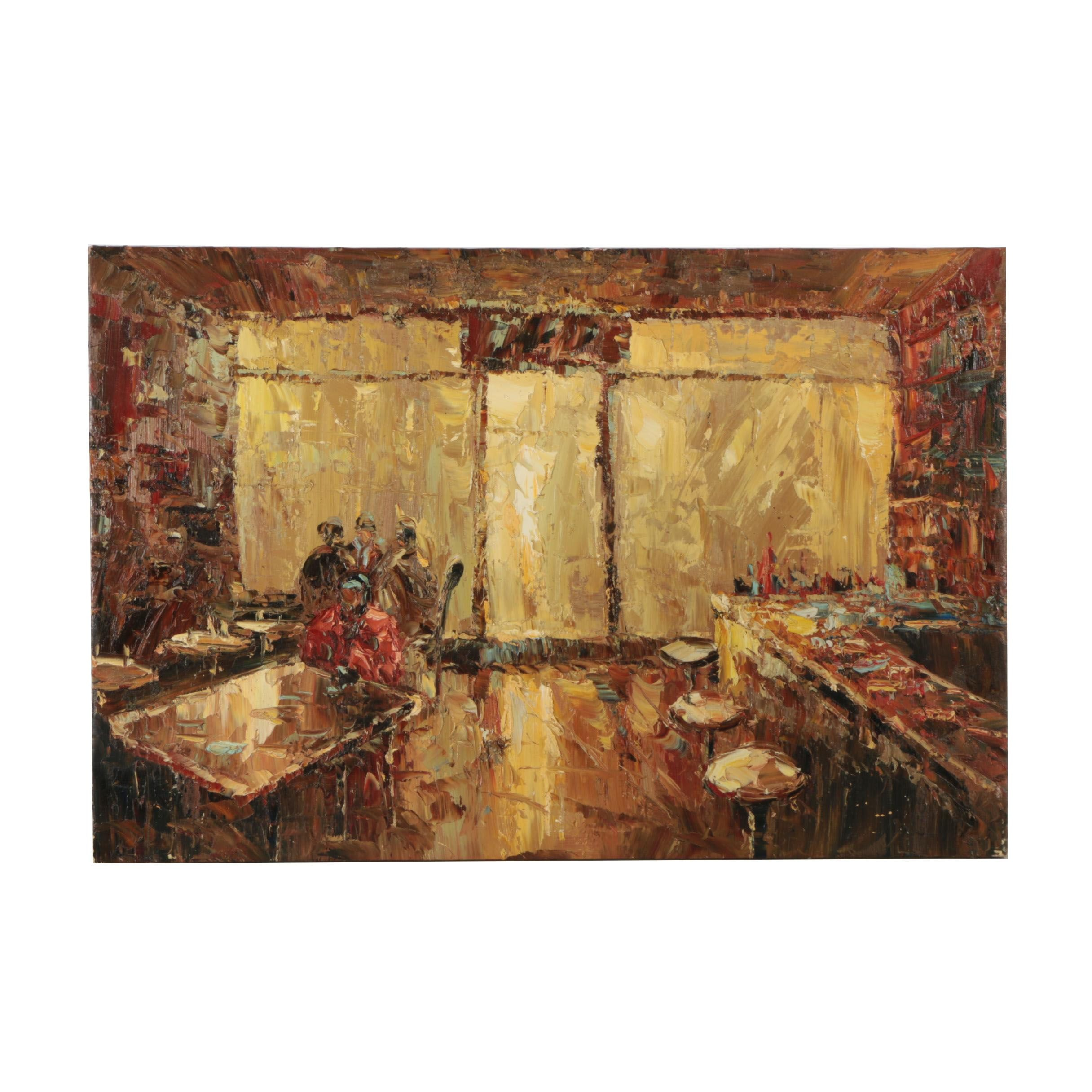 Oil Painting on Canvas of Restaurant Scene