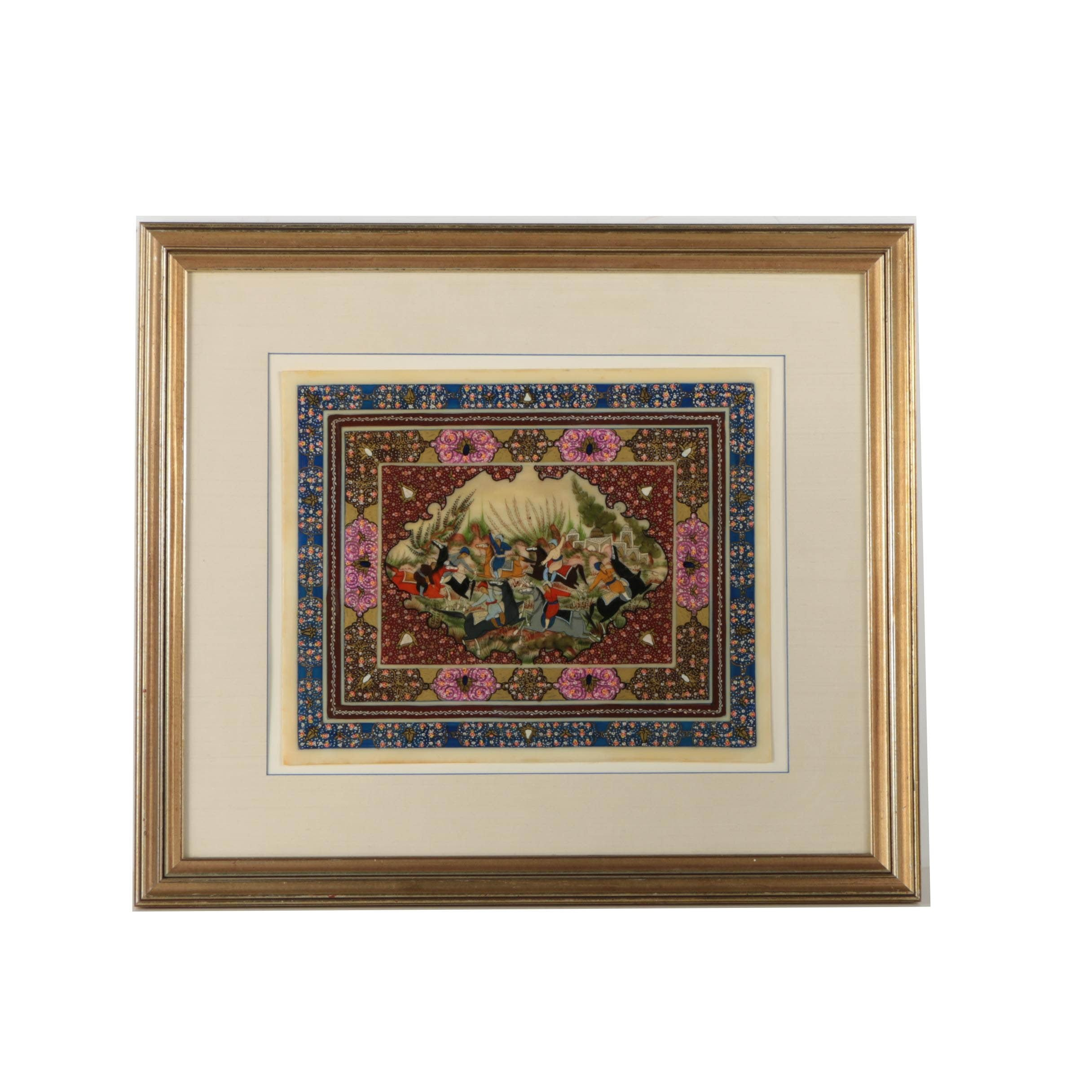 Persian Style Oil Painting on Resin of Polo Match