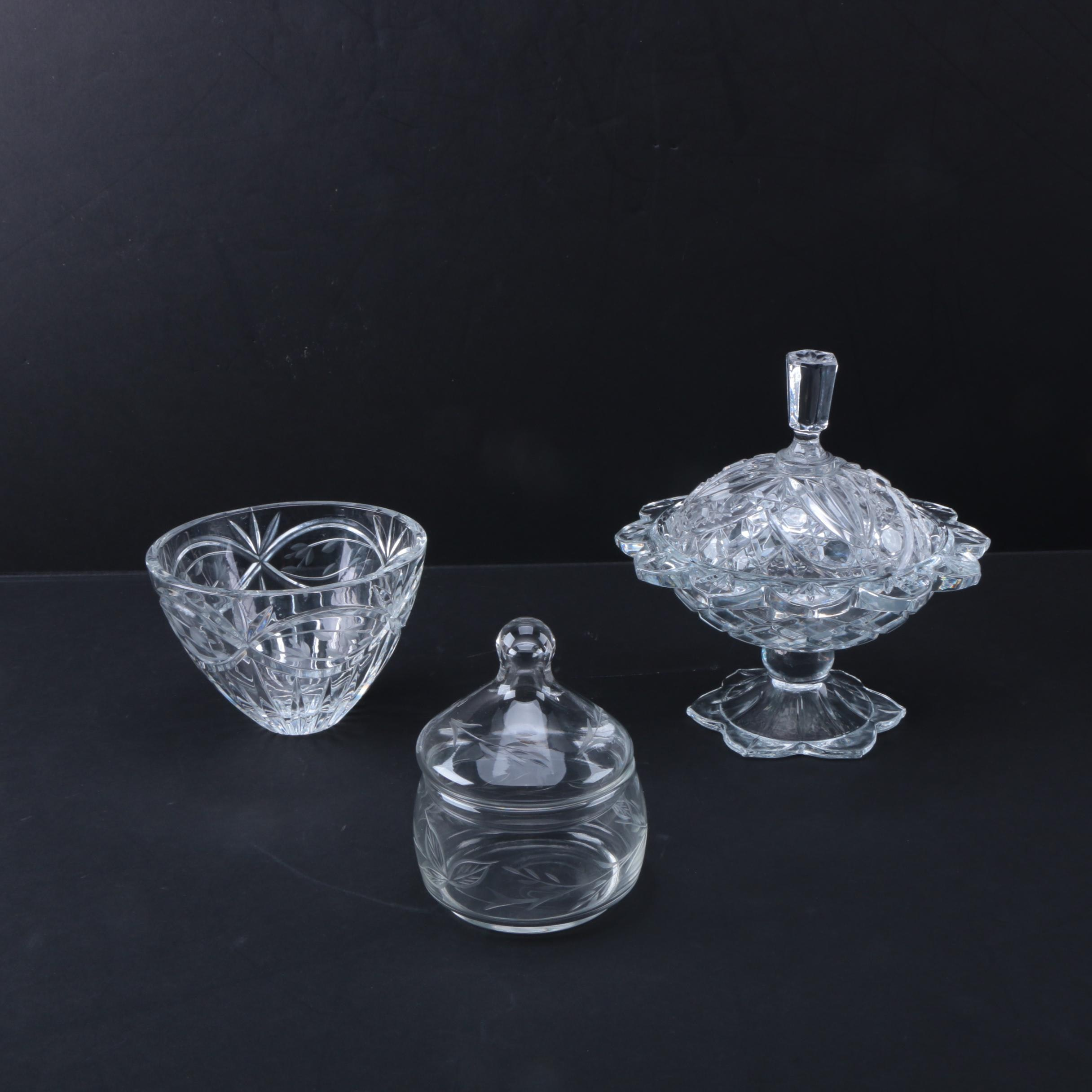 Vintage Lidded Glass Compote, Etched Glass Jar and Crystal Bowl