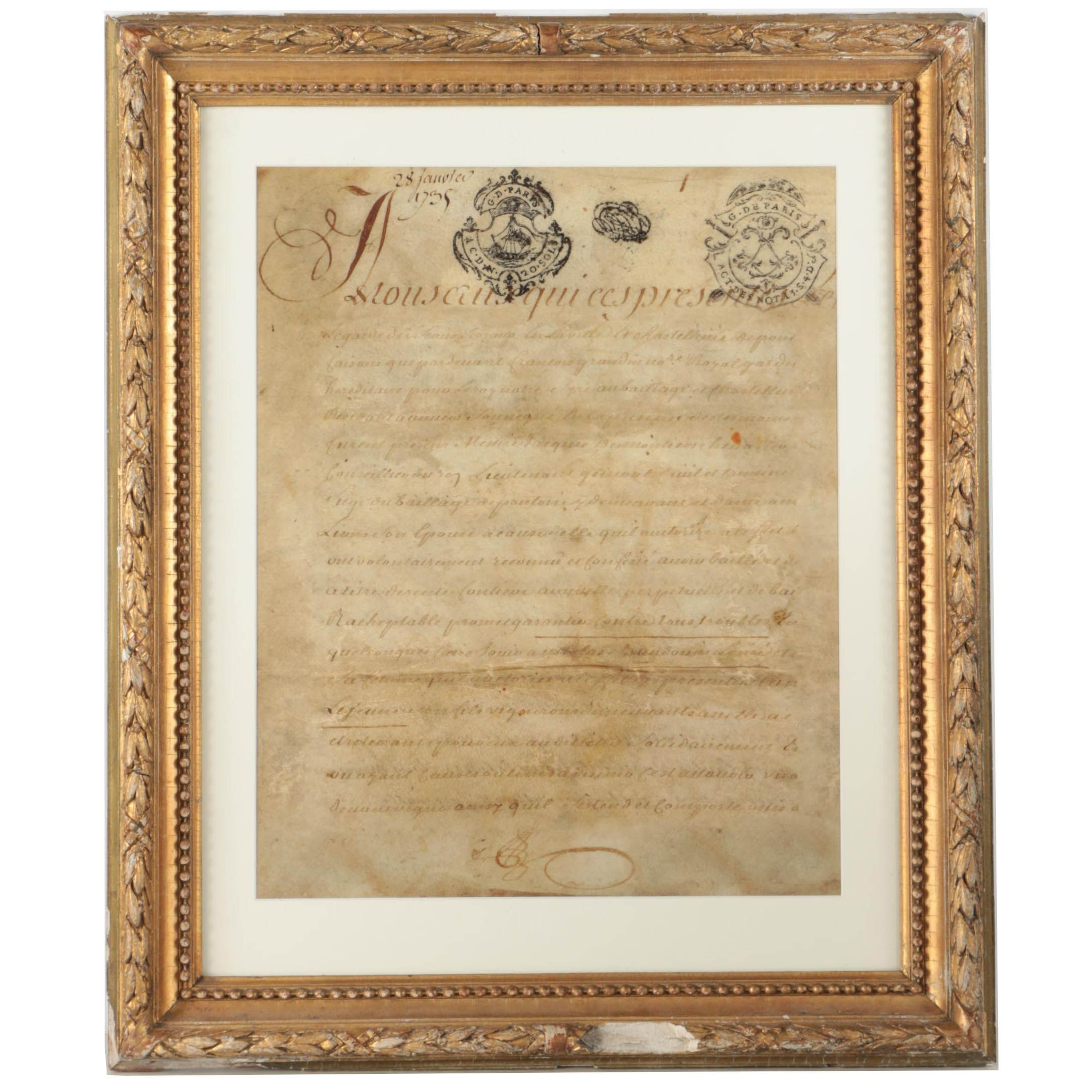 Giclee on Paper of Document in Old French