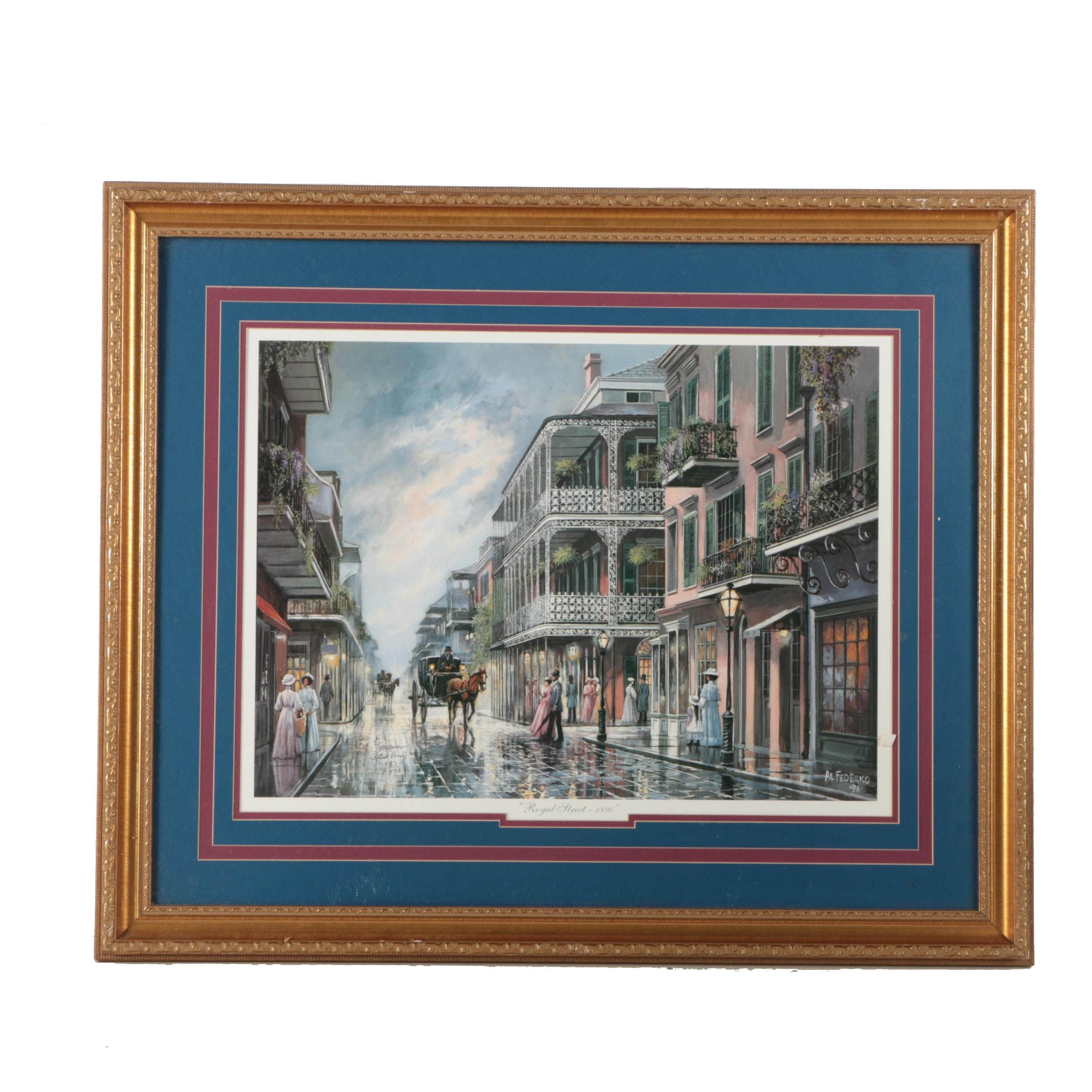 "Al Federico Limited Edition Artist Proof Offset Lithograph ""Royal Street - 1890"""