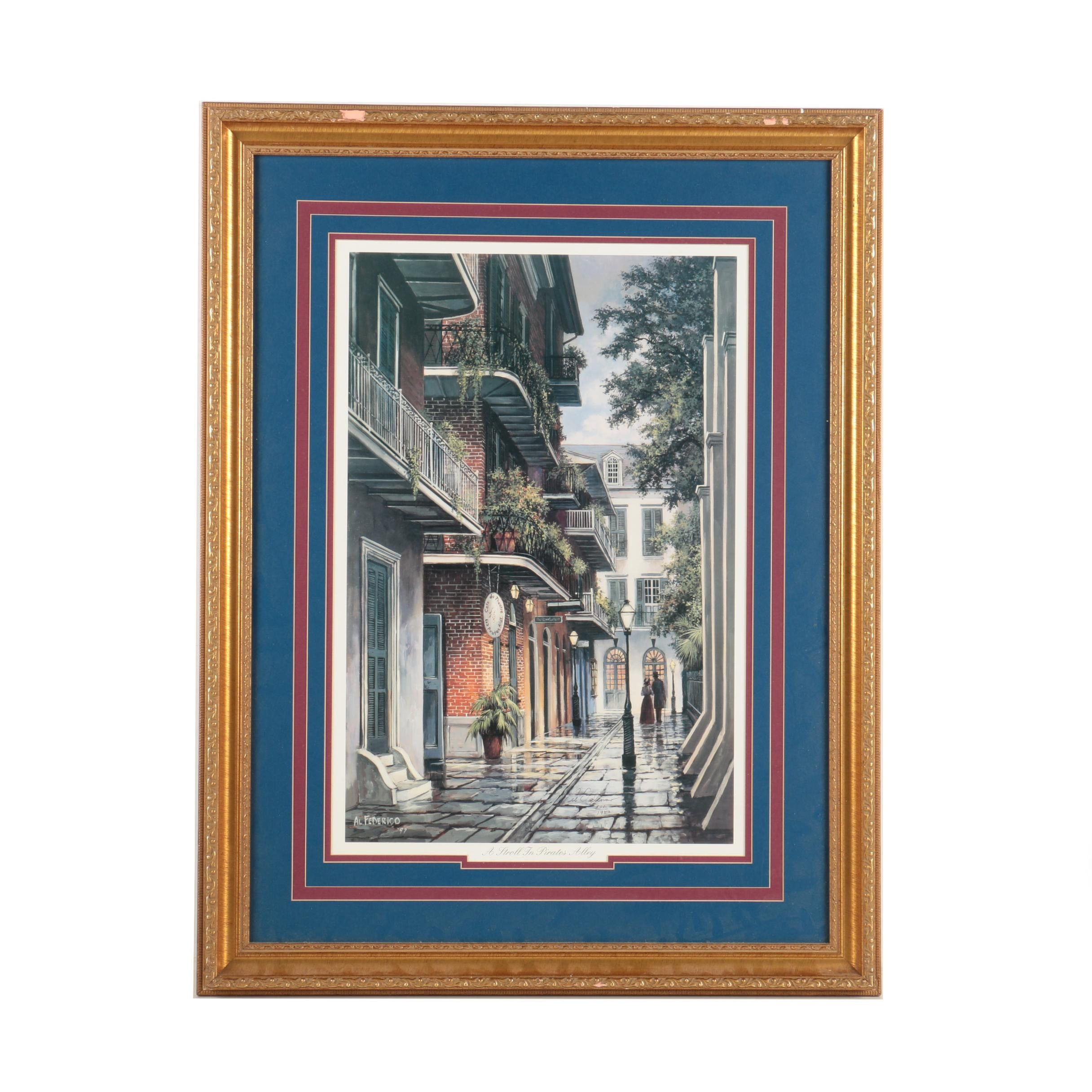 "Al Federico Limited Edition Offset Lithograph ""A Stroll in Pirates Alley"""