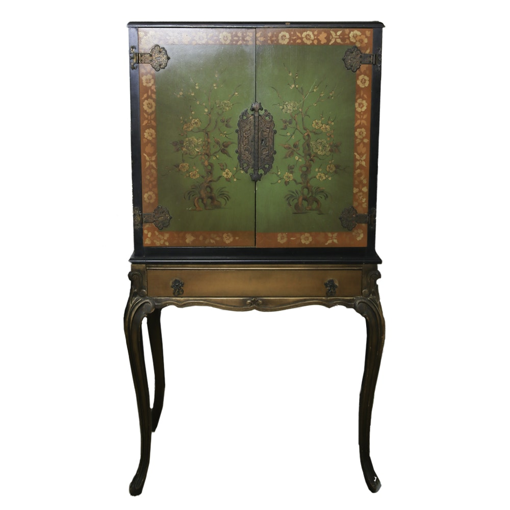 Superbe 1920s Asian Style Painted Desk On Stand By Angelus Furniture ...
