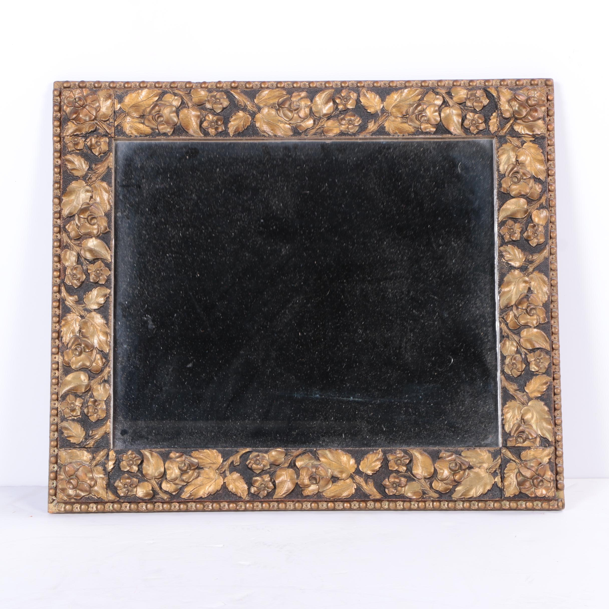 Wood Framed Floral Wall Mirror