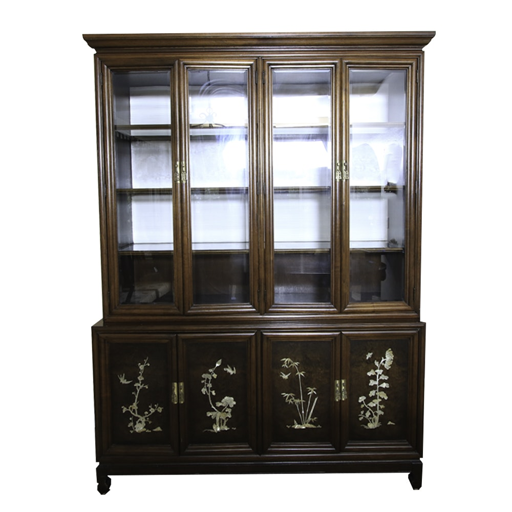 Chinese Inspired Mother-of-Pearl Inlaid and Veneered Display Cabinet
