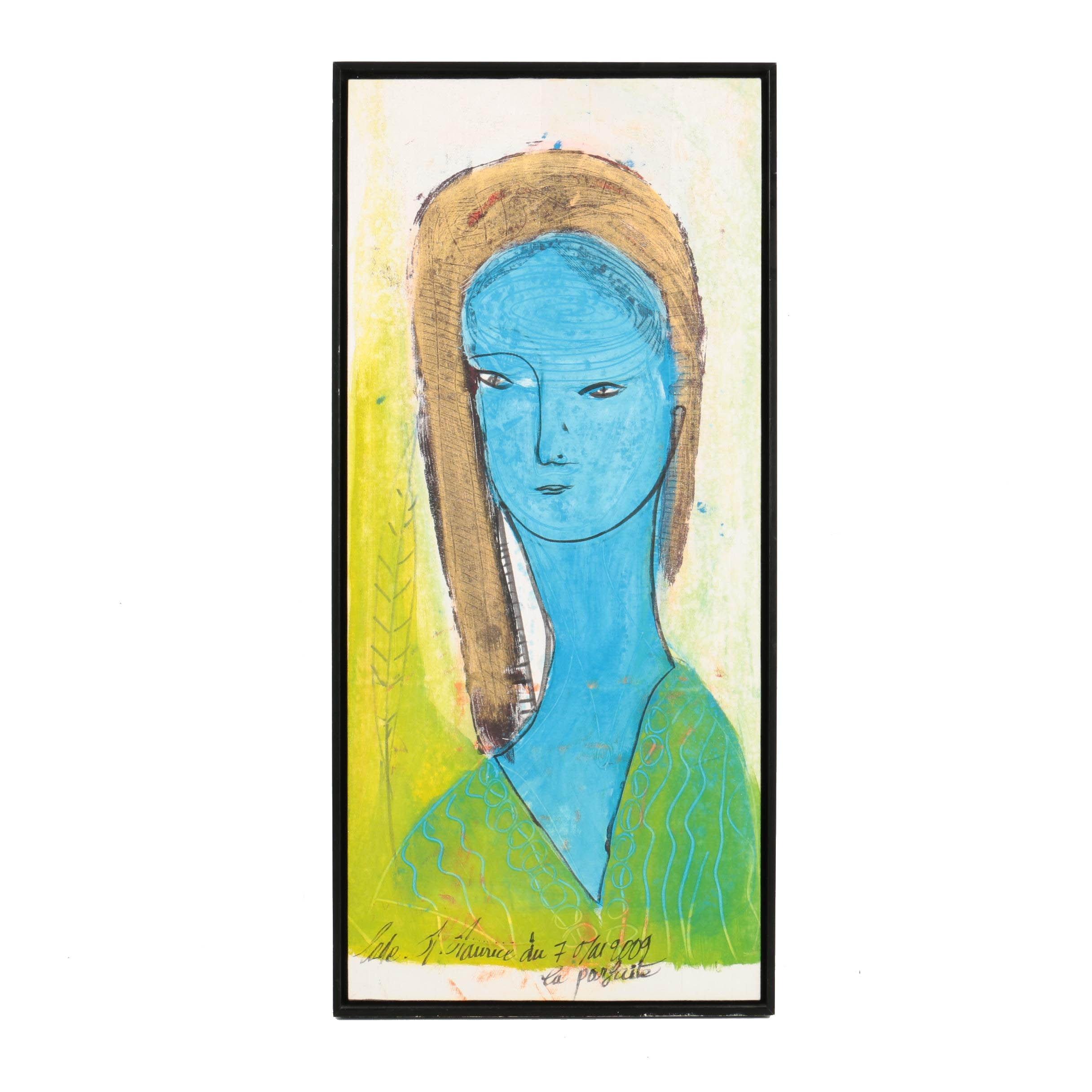 "Maurice Michael Lode Mixed Media Painting ""La Parfaite"""