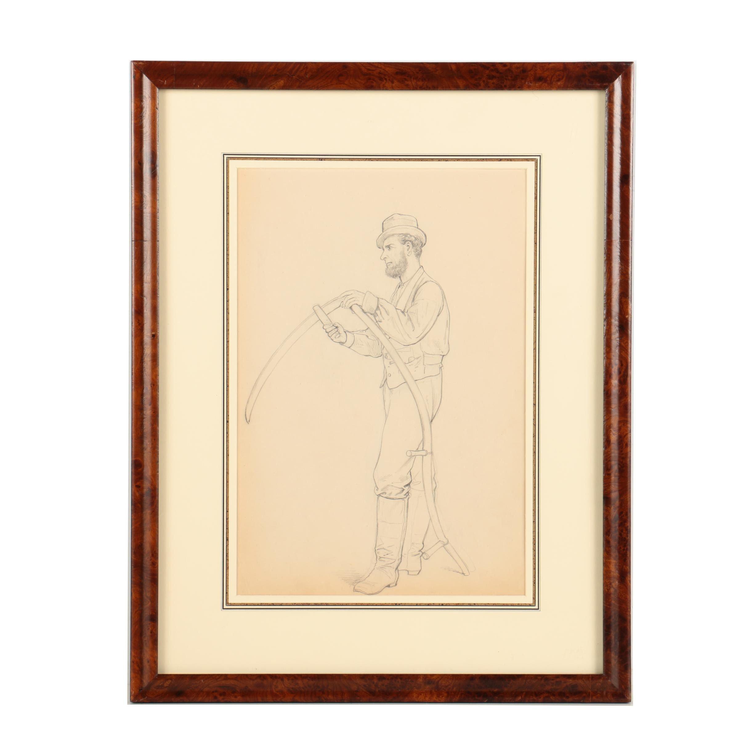 "Graphite Drawing Attributed to Edmund Birckhead Bensell ""Farmer with Scythe"""