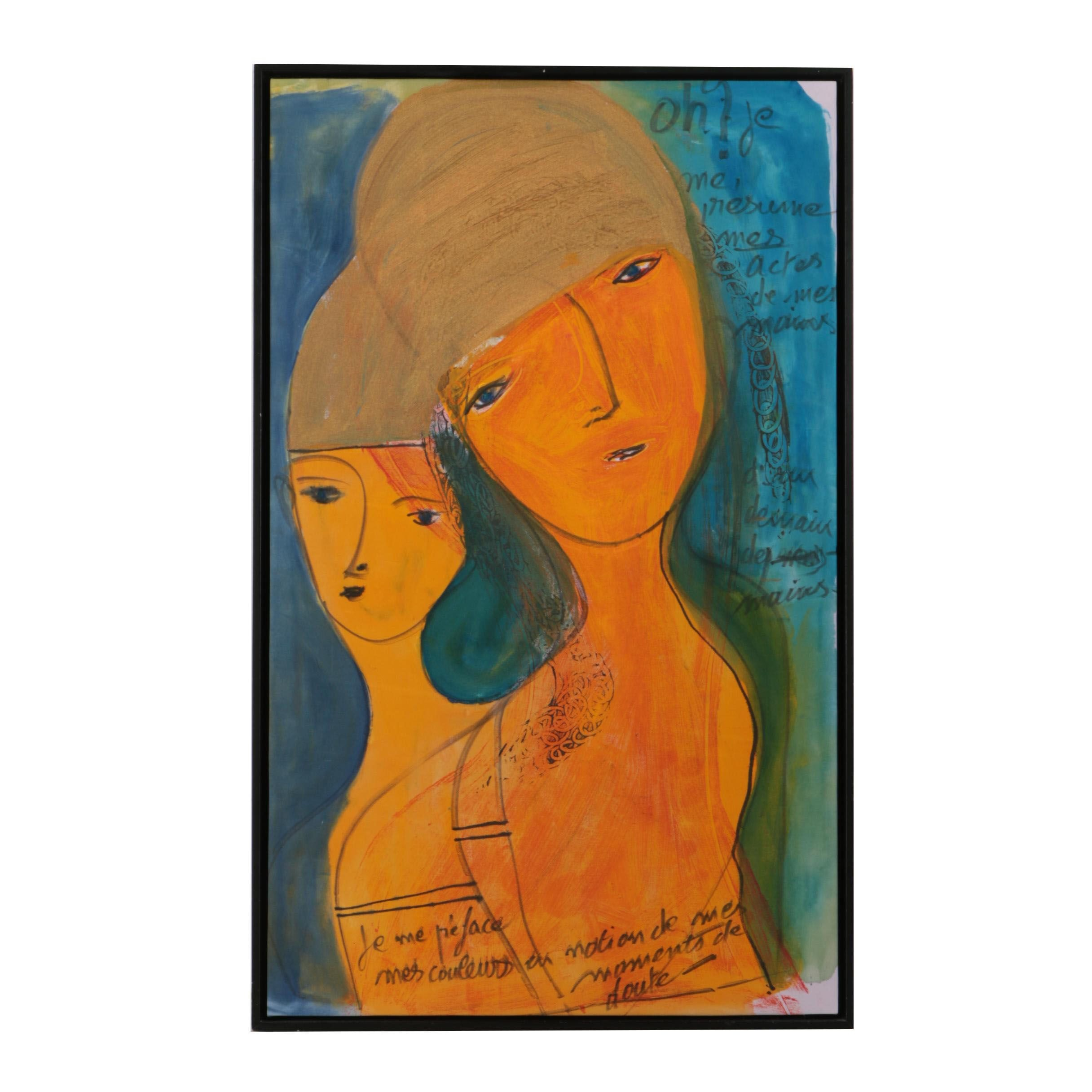 Maurice Michael Lode Mixed Media Painting of Figures