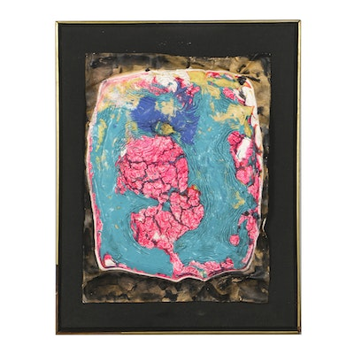 """Graham Peacock Acrylic on Paper on Card on Canvas """"Rocaille Tree Tops Pink"""""""