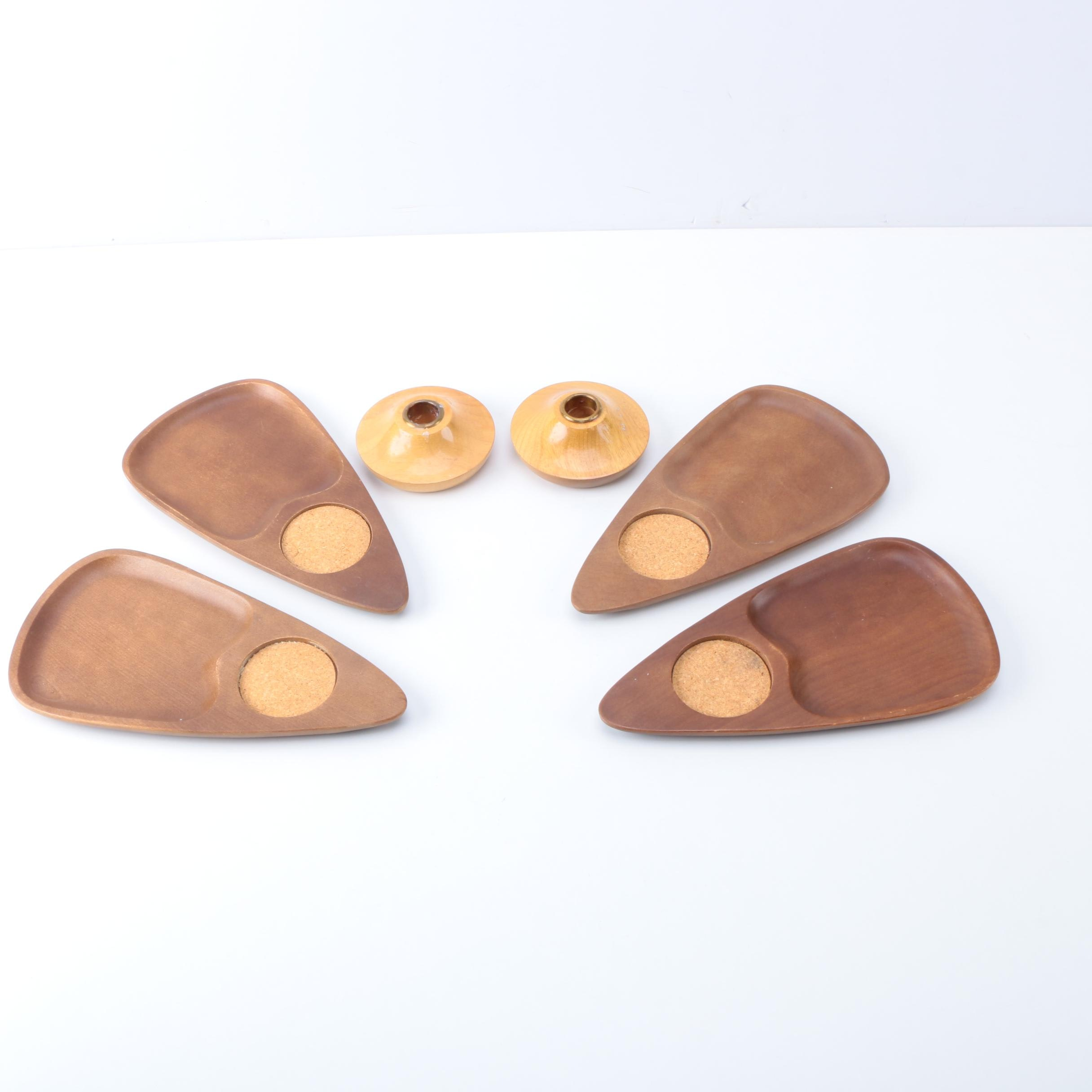 Mid Century Modern Wood Snack Plates and Candle Holders