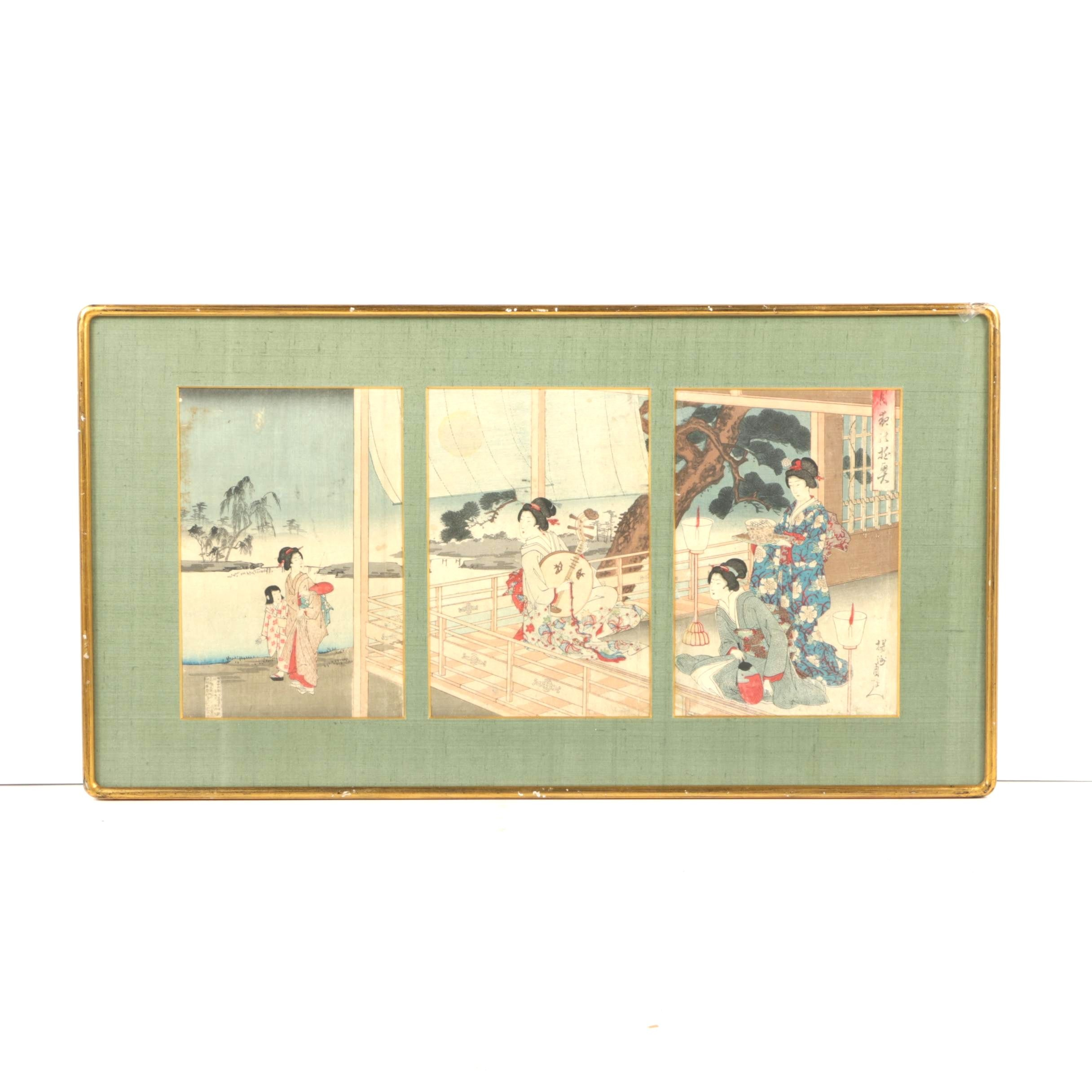 Antique Japanese Woodblock Triptych After Toyohara Chikanobu of a Court Scene