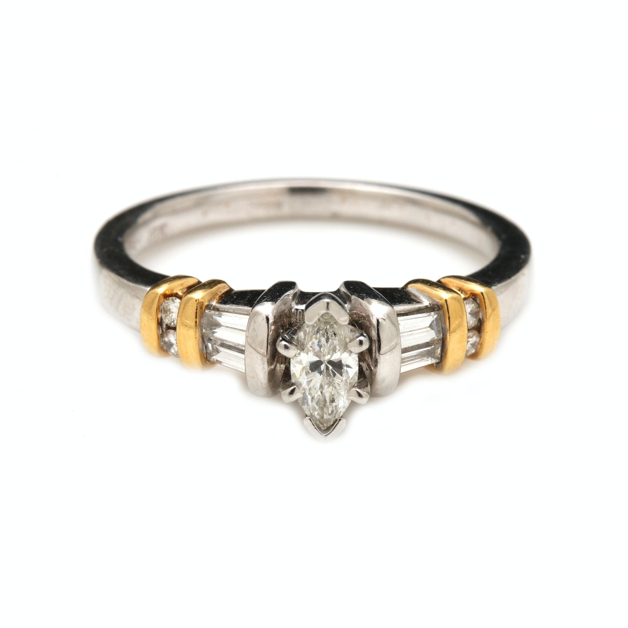 Platinum and 18K Yellow Gold Diamond Ring