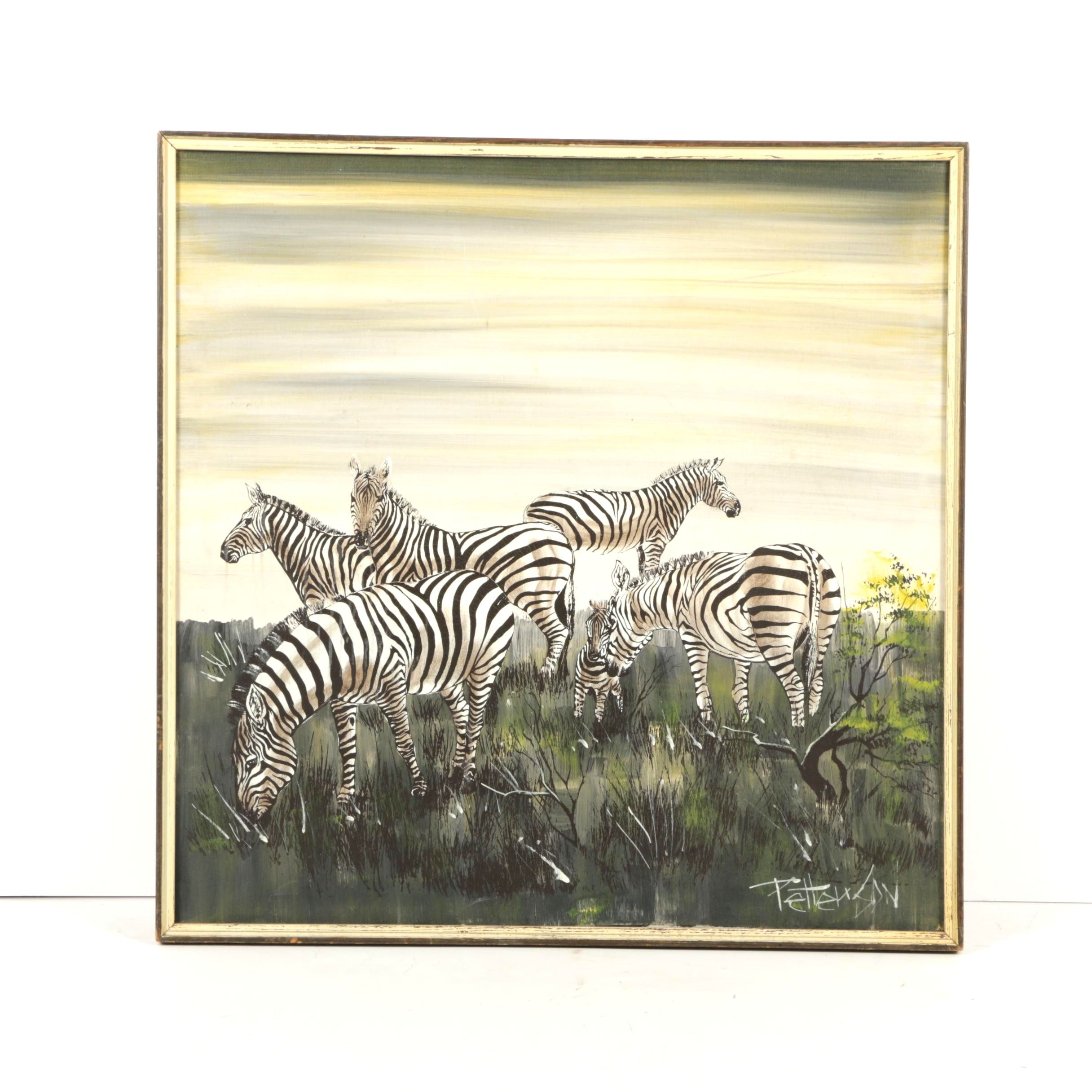 Petterson Serigraph and Acrylic of Grazing Zebras