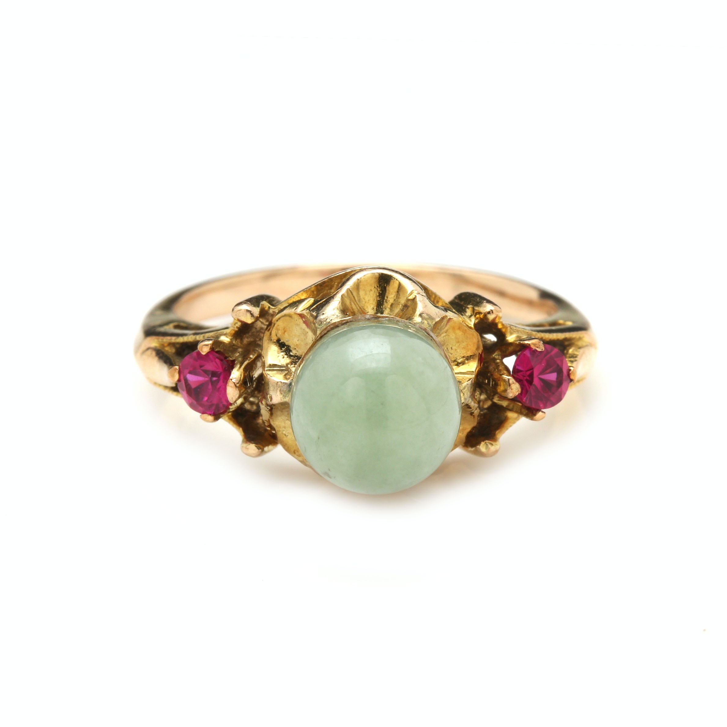 10K Yellow Gold Nephrite and Ruby Ring