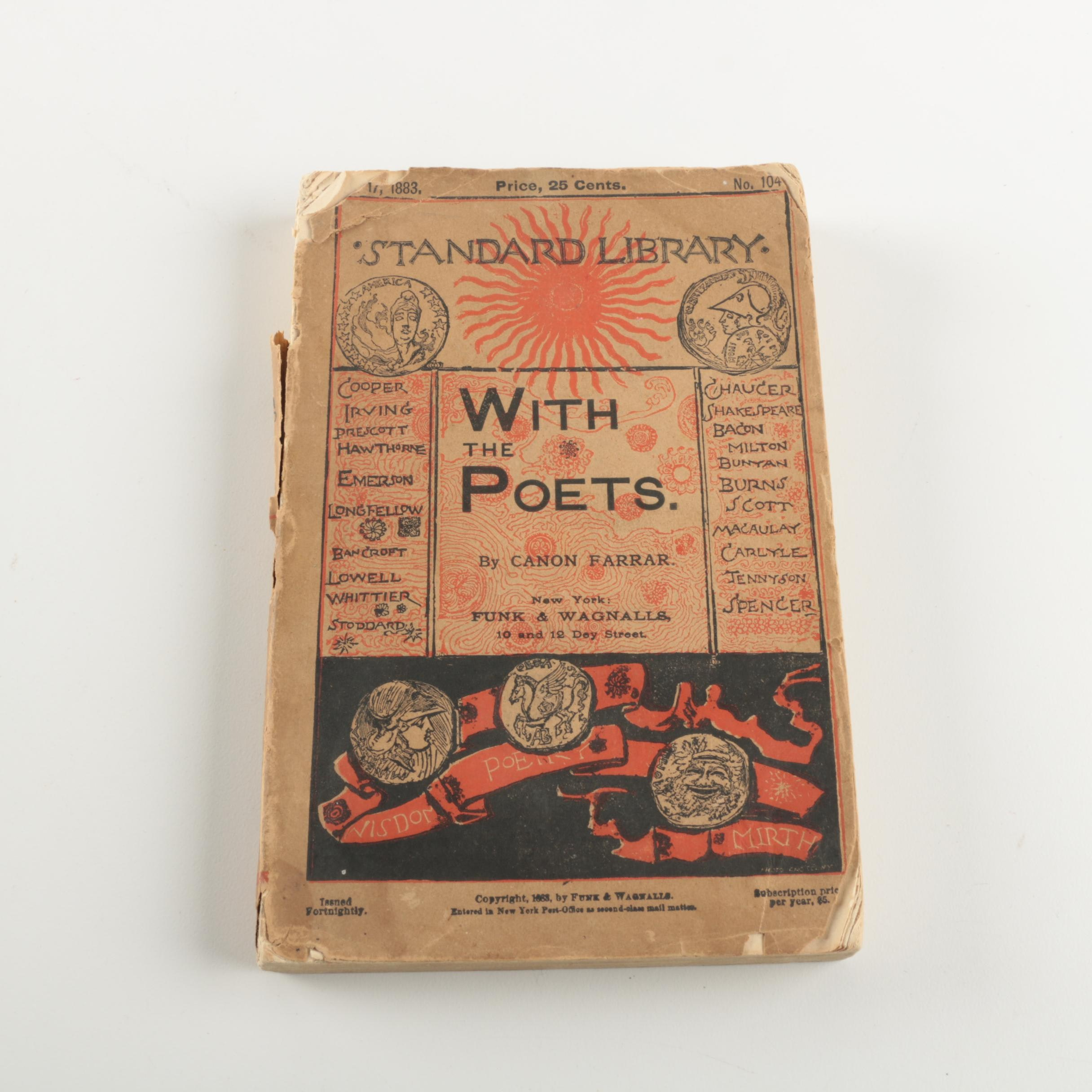 """1883 """"With the Poets: A Selection of English Poetry"""" by F. W. Farrar"""