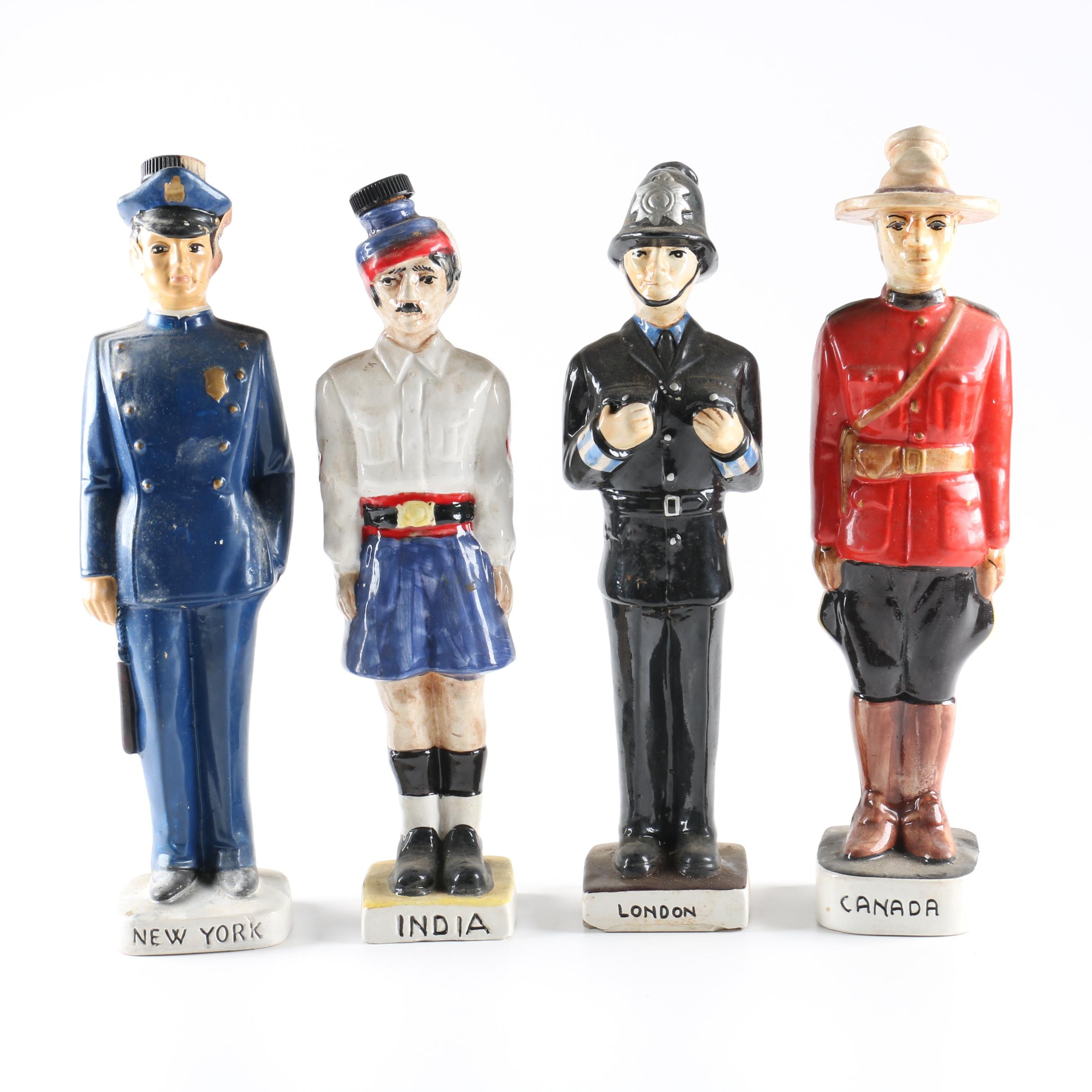 Four Vintage International Police Officer Decanters