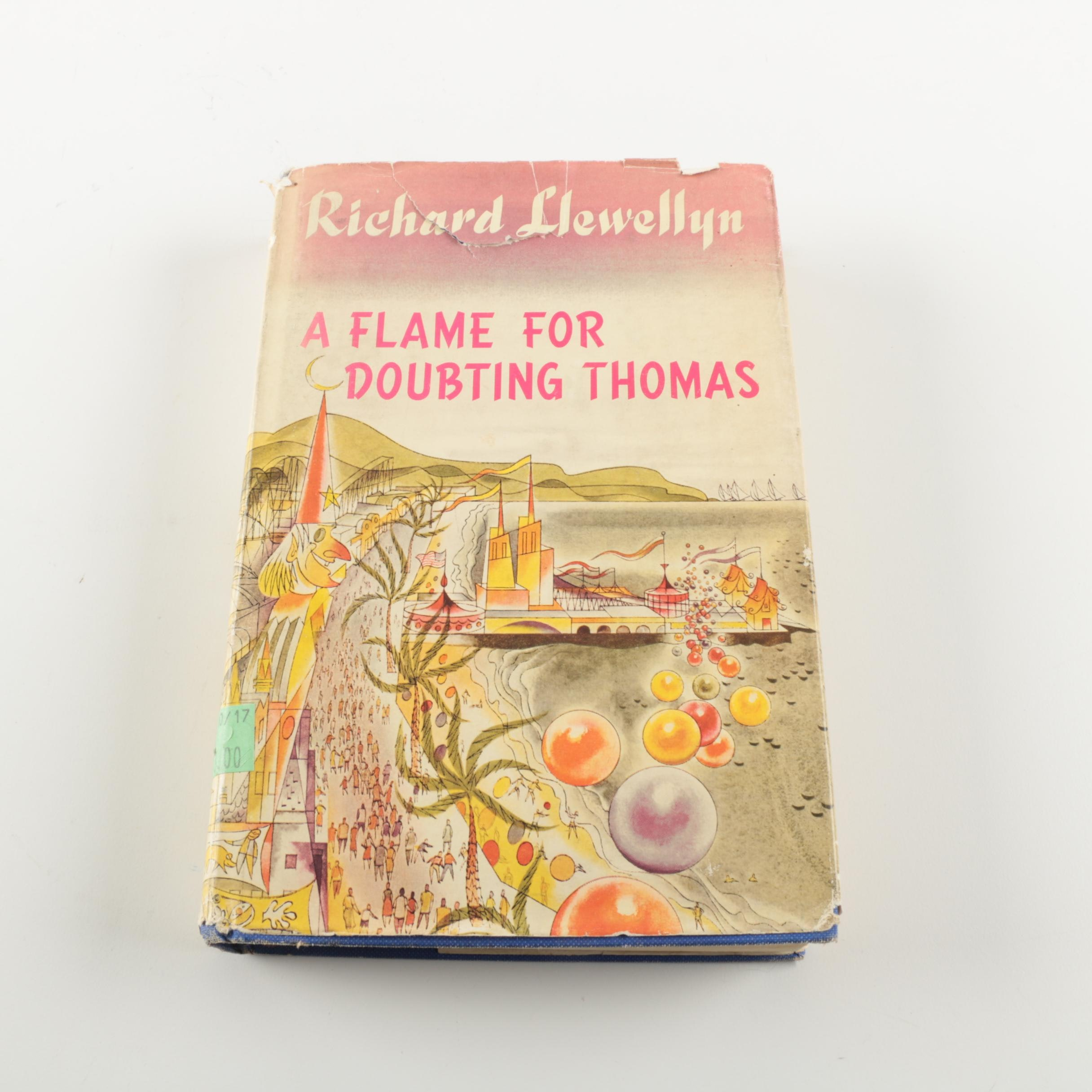 """1953 First Printing """"A Flame for Doubting Thomas"""" by Richard Llewellyn"""