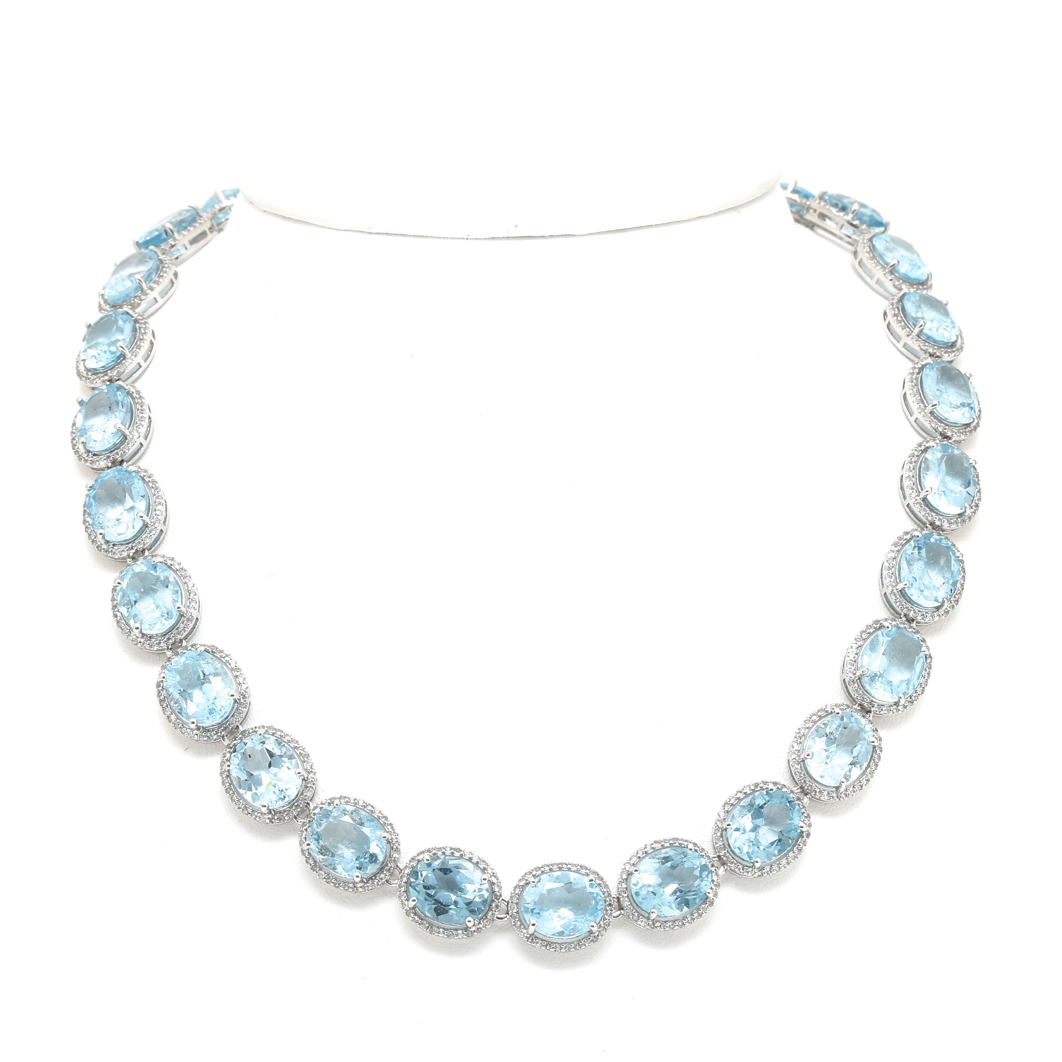 Sterling Silver 12.50 CTW Blue Topaz and White Sapphire Link Necklace