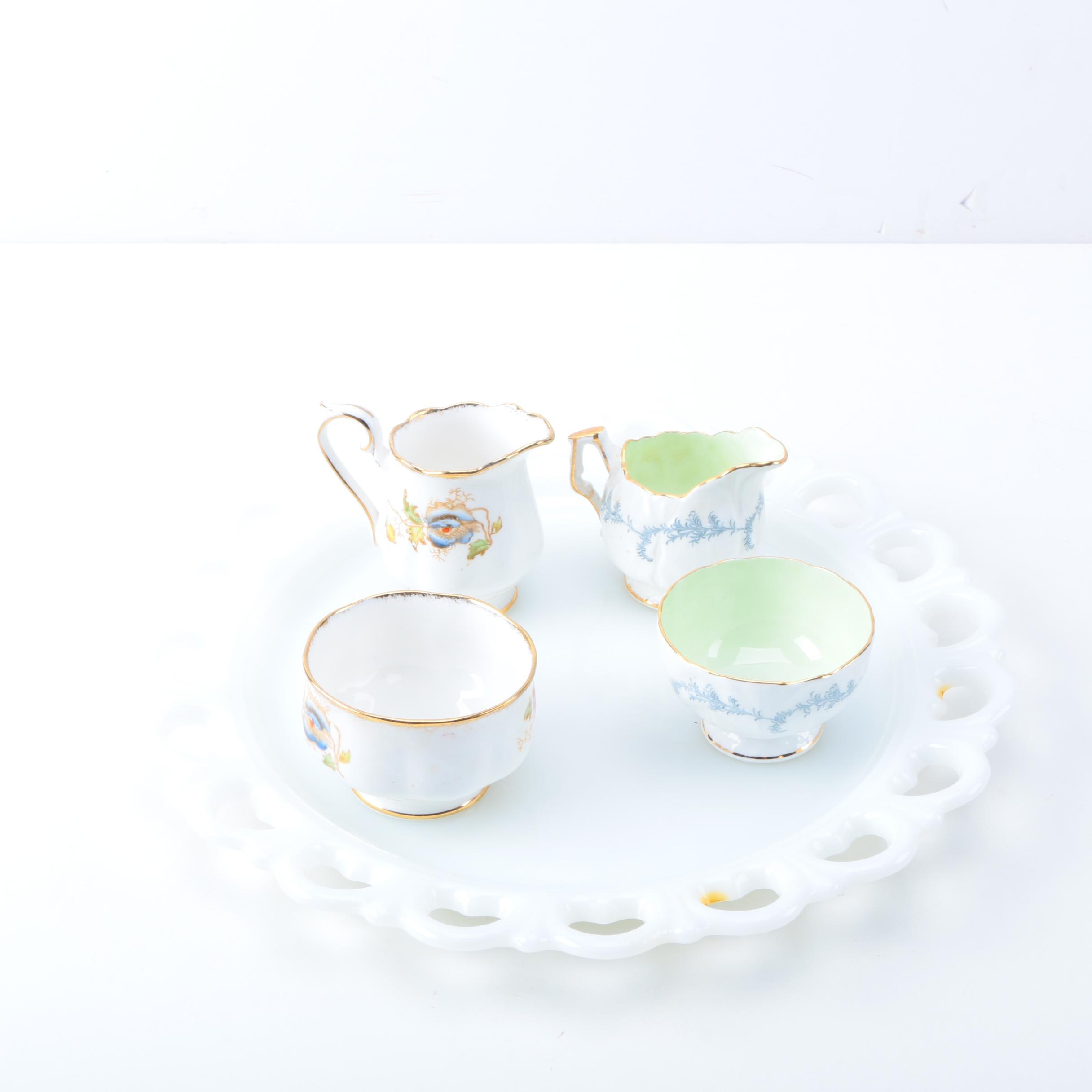 Milk Glass Platter with Porcelain Creamer and Sugar Bowl Sets including Aynsley