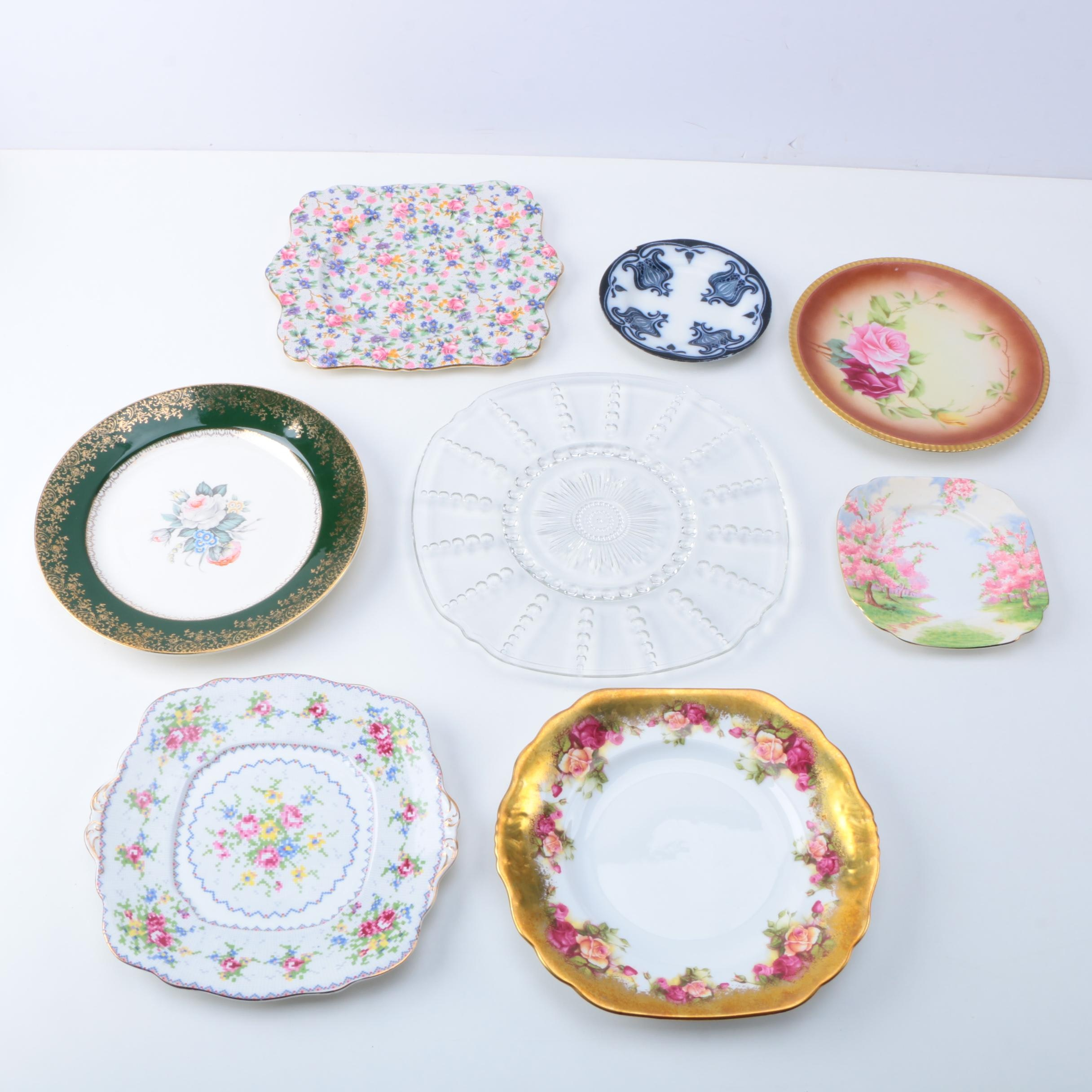Porcelain and Glass Plates, Including Flow Blue