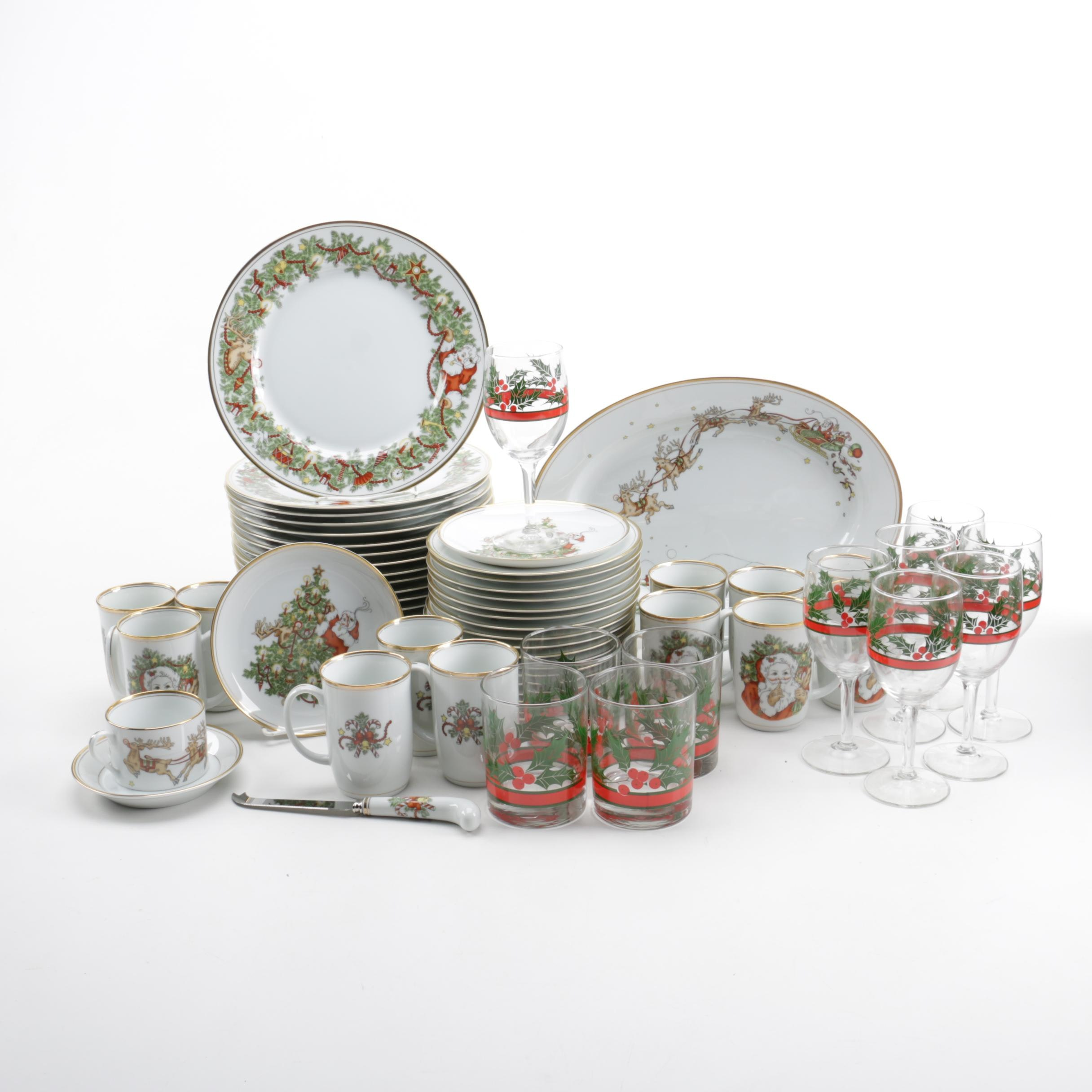 Holiday Themed Tableware Including Fitz and Floyd