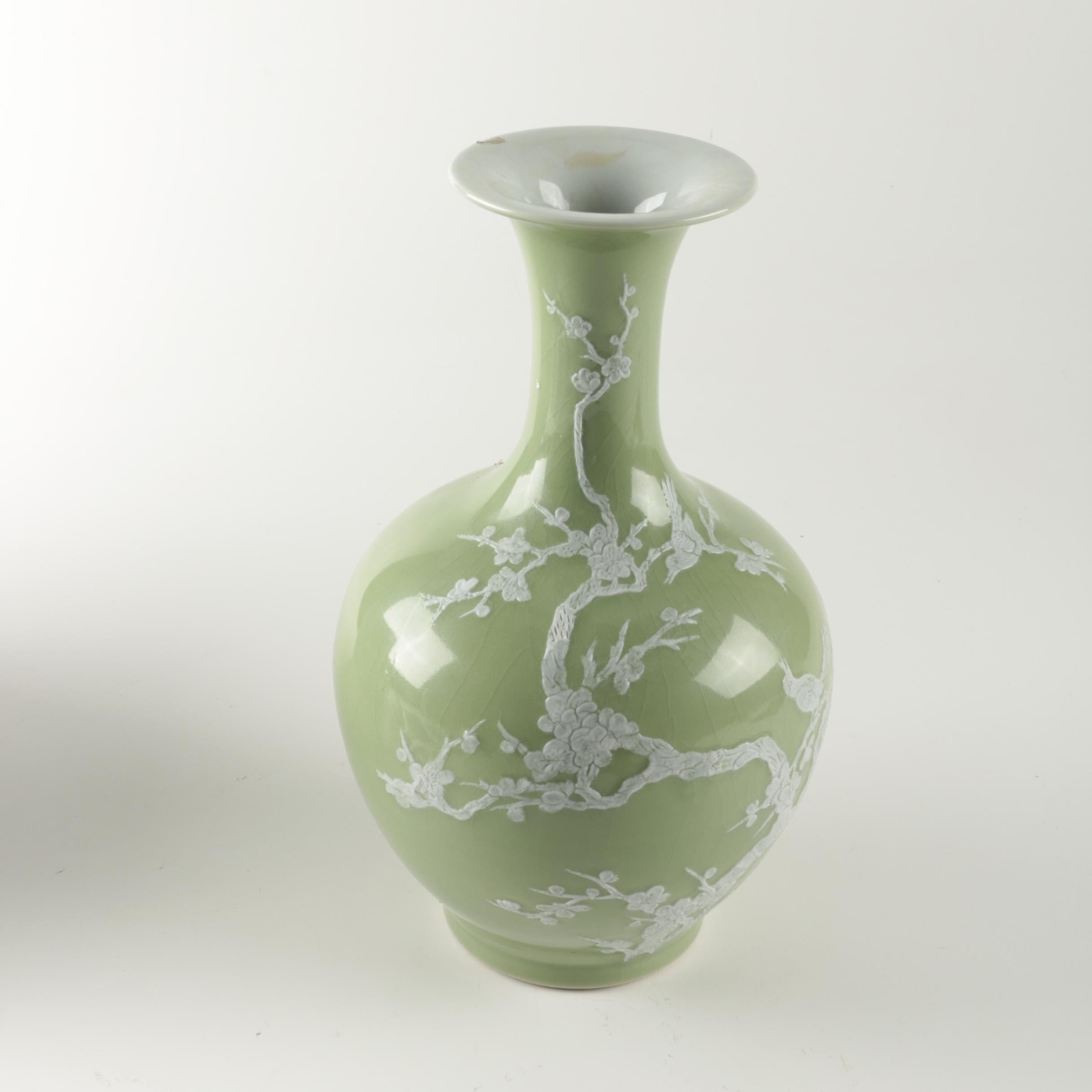 Chinese Decorative Sage Green and White Cherry Blossom Vase