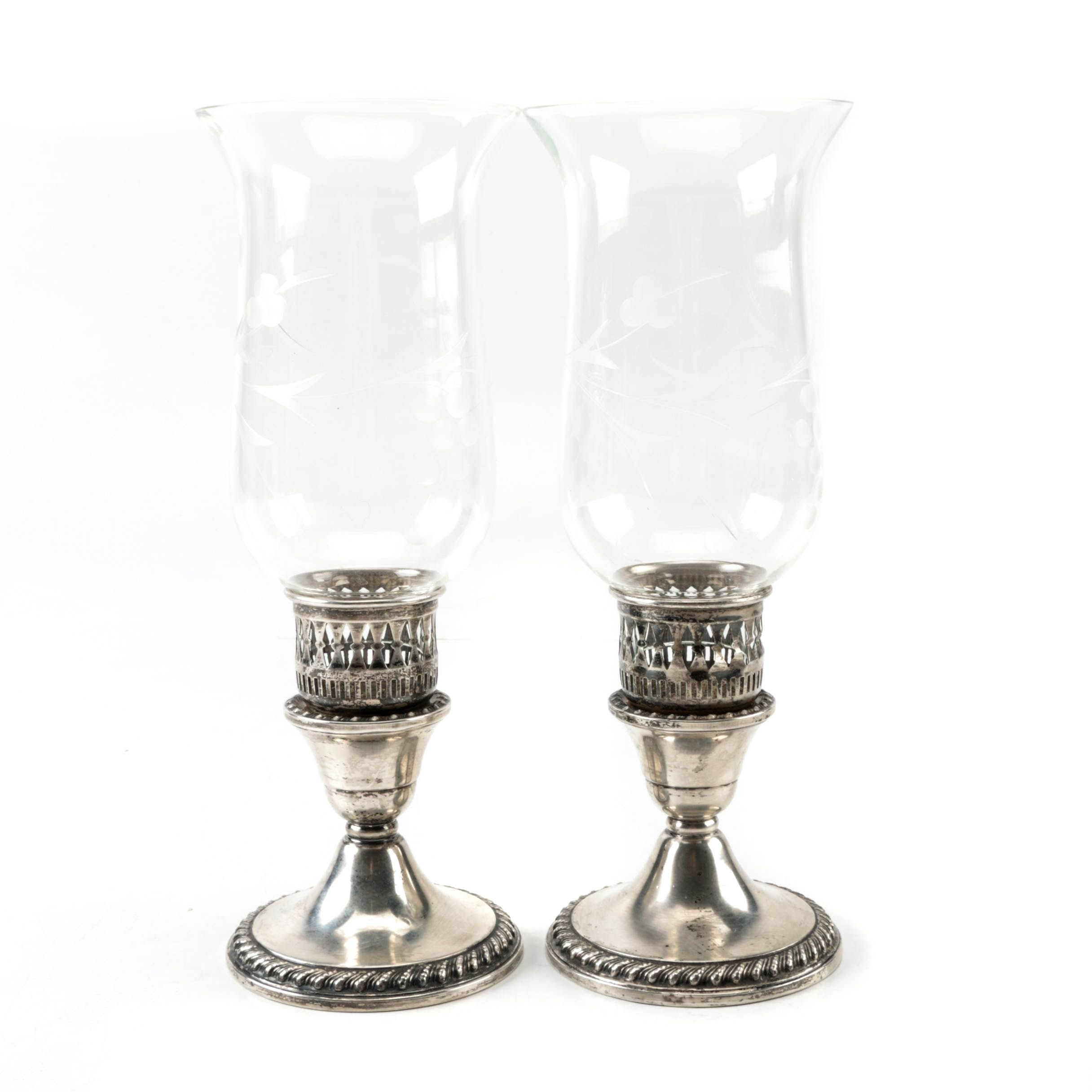 Rogers Weighted Sterling Silver Candleholders and Etched Glass Hurricanes