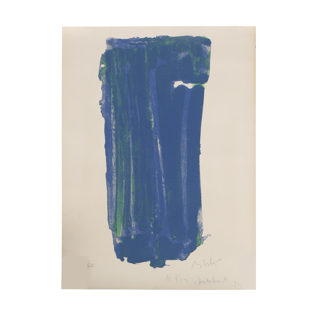 Olivier Debré Abstract Screen Print on Deckle Edge Paper