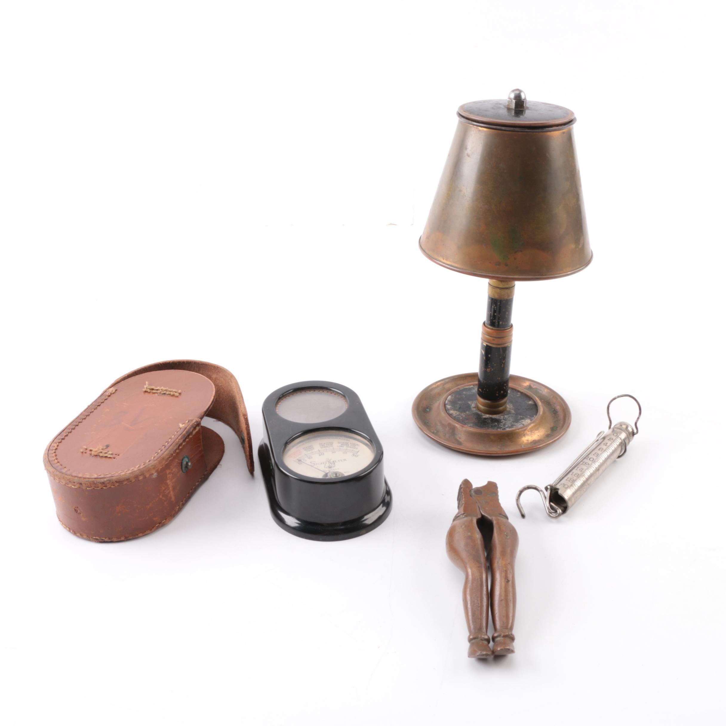 Vintage Cigarette Holder, Nutcracker, Scale And Light Meter
