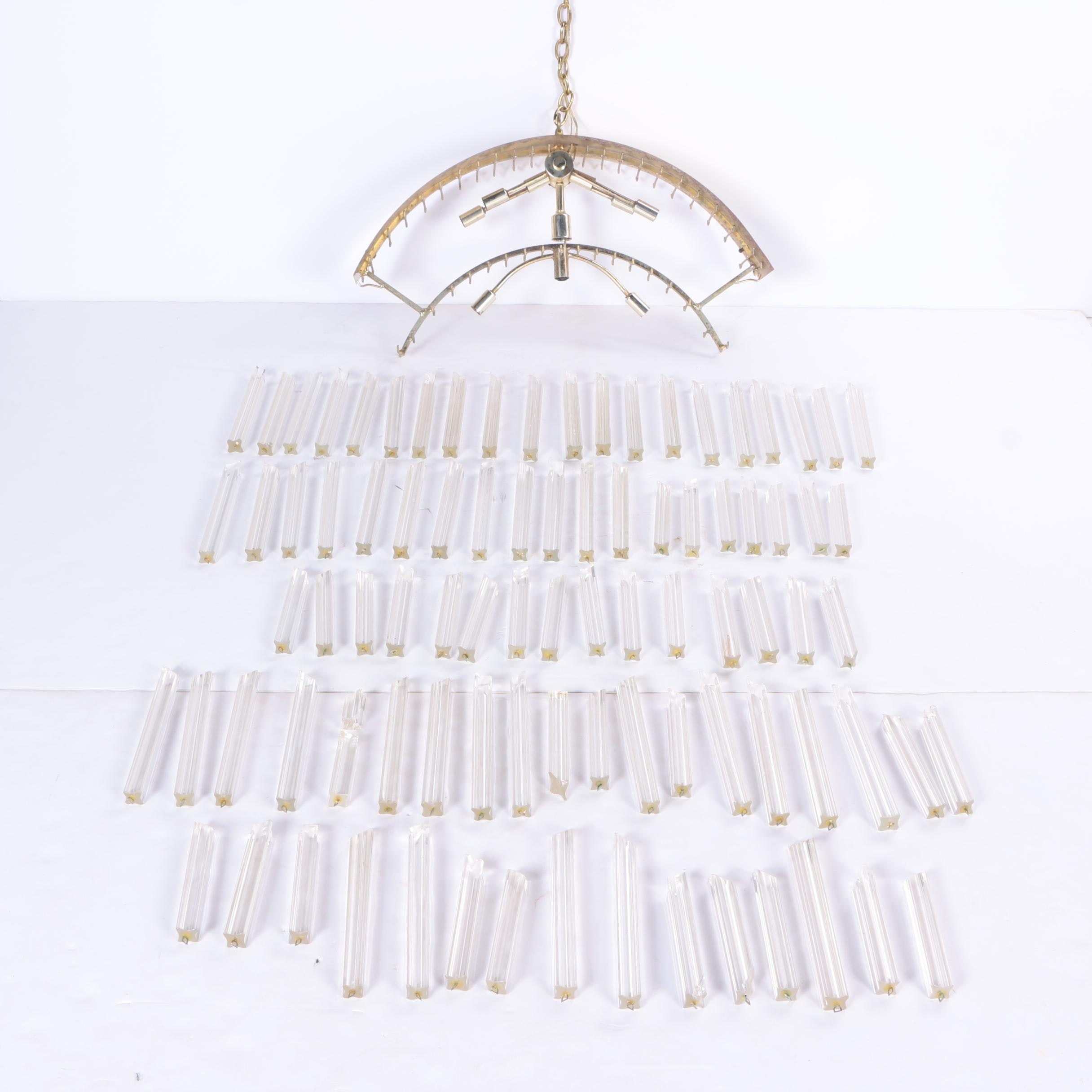 Mid Century Modern Brass and Glass Crystal Chandelier