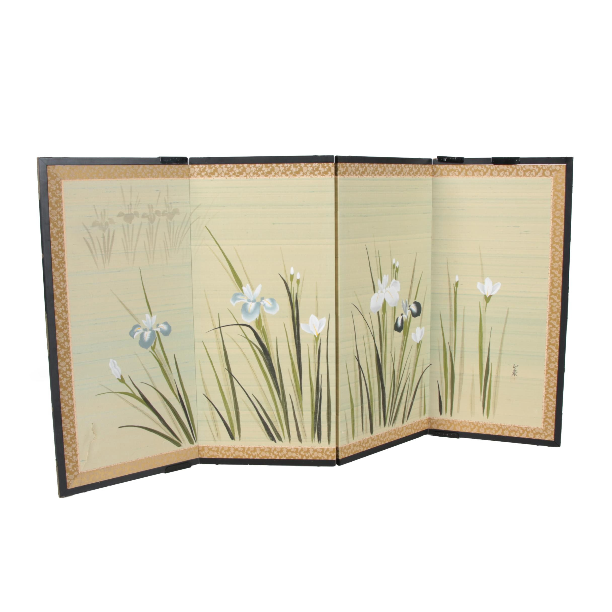 Japanese Painted Paper And Fabric Four Panel Screen