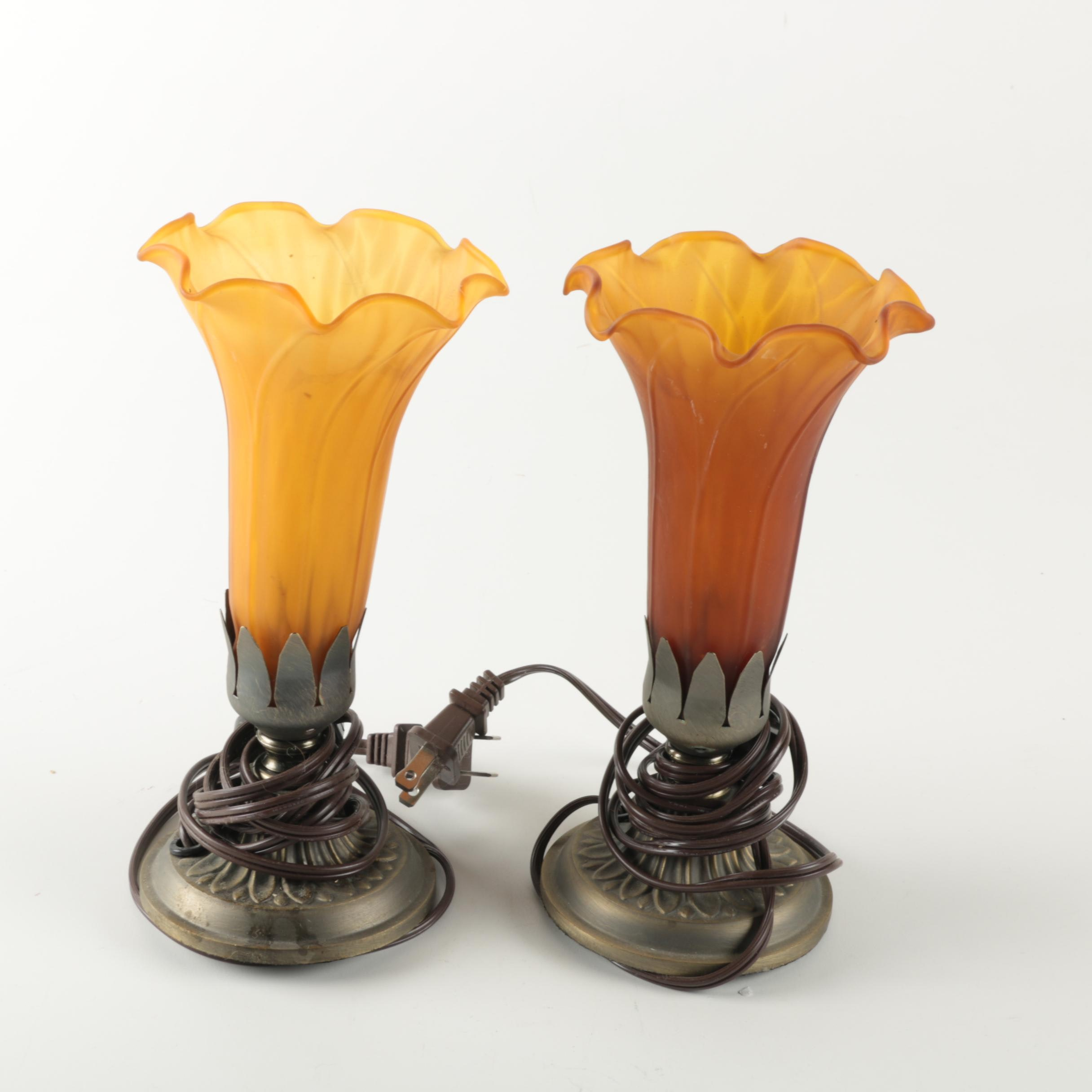 Glass Lily Shade Torchiere Table Lamps