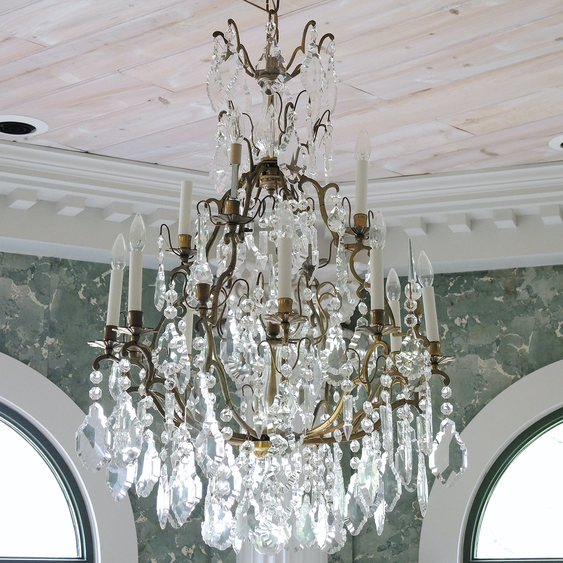 Elegant Tiered Crystal and Brass Chandelier