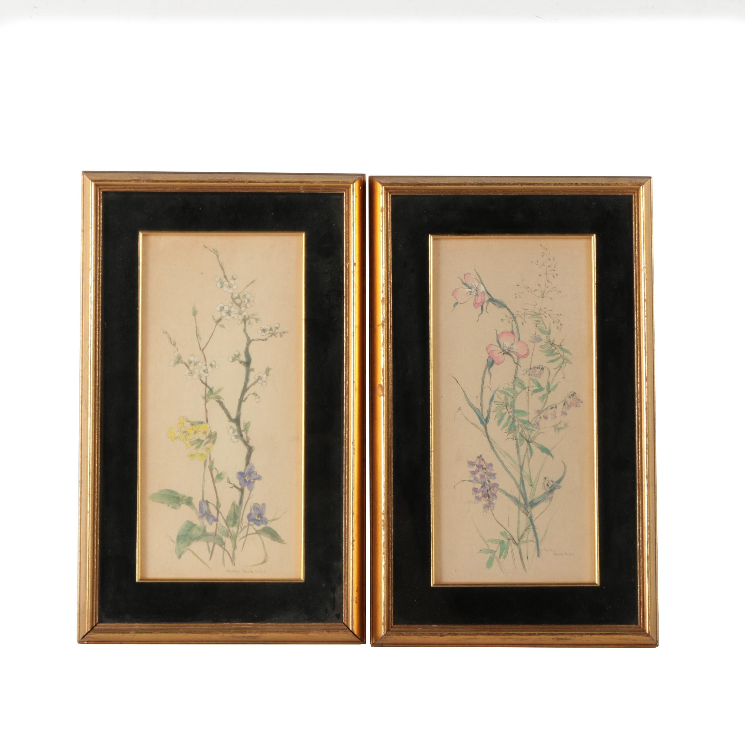 Pair Of Botanical Gouache Paintings On Rice Paper Ebth