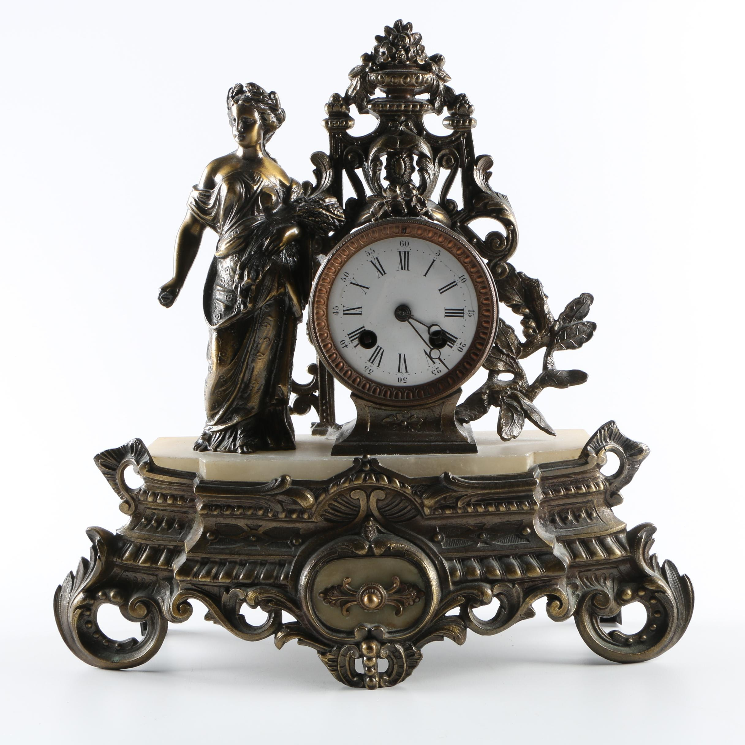 Baroque Style Brass Mantle Clock