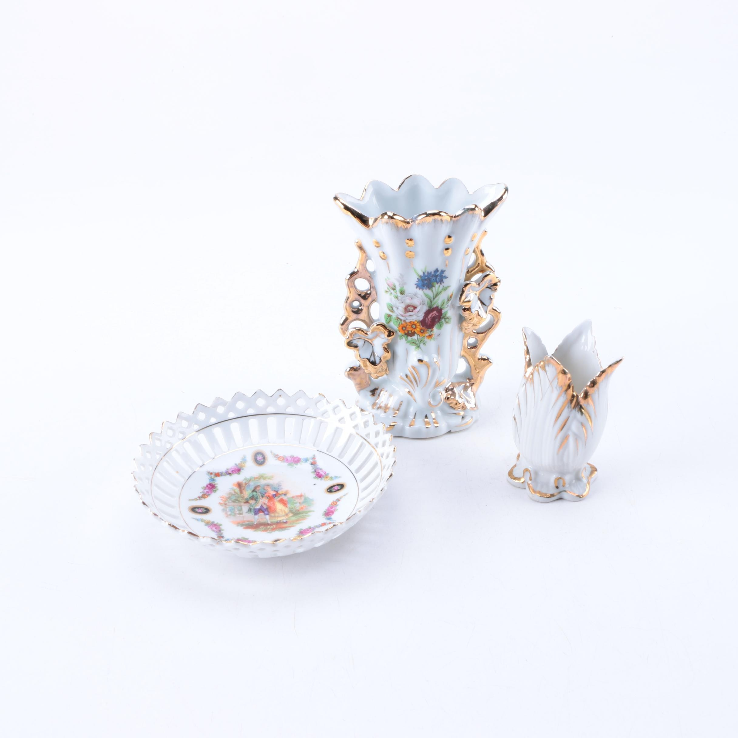 Hand-Painted Porcelain Vases and Dish