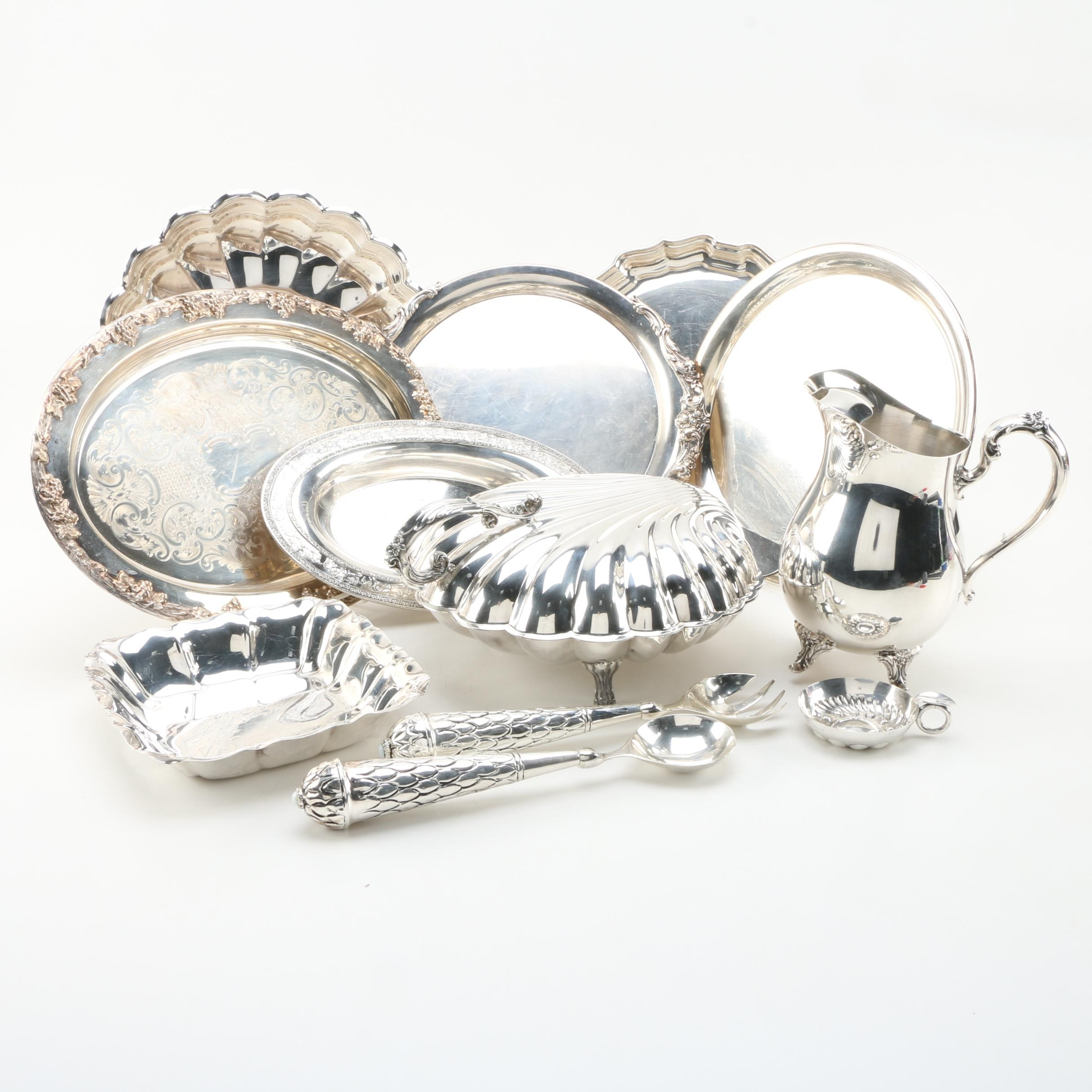 """Collection of Silver Plated Serving Ware Including Reed & Barton """"Chippendale"""""""