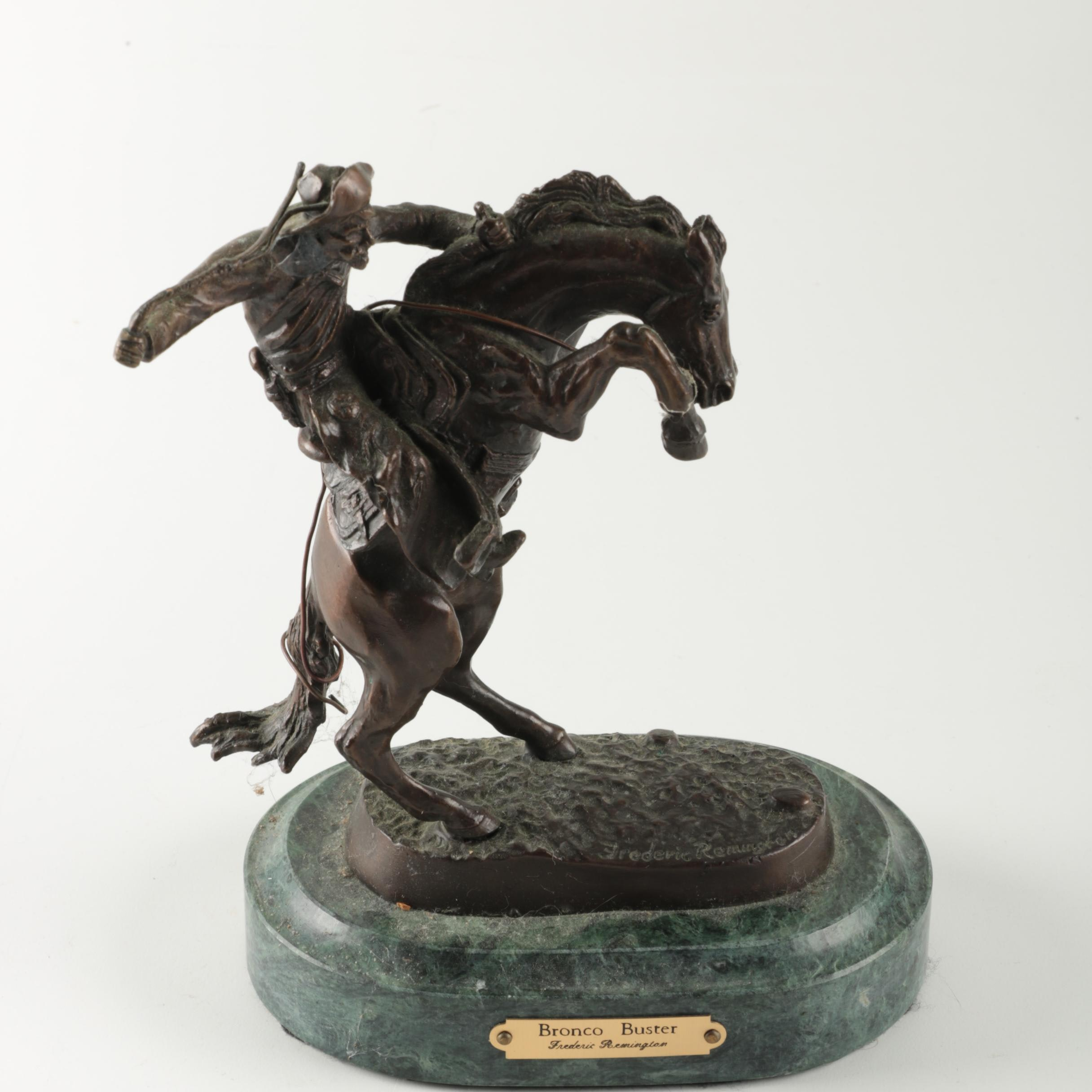 "Reproduction Metal Sculpture After Frederic Remington ""Bronco Buster"""
