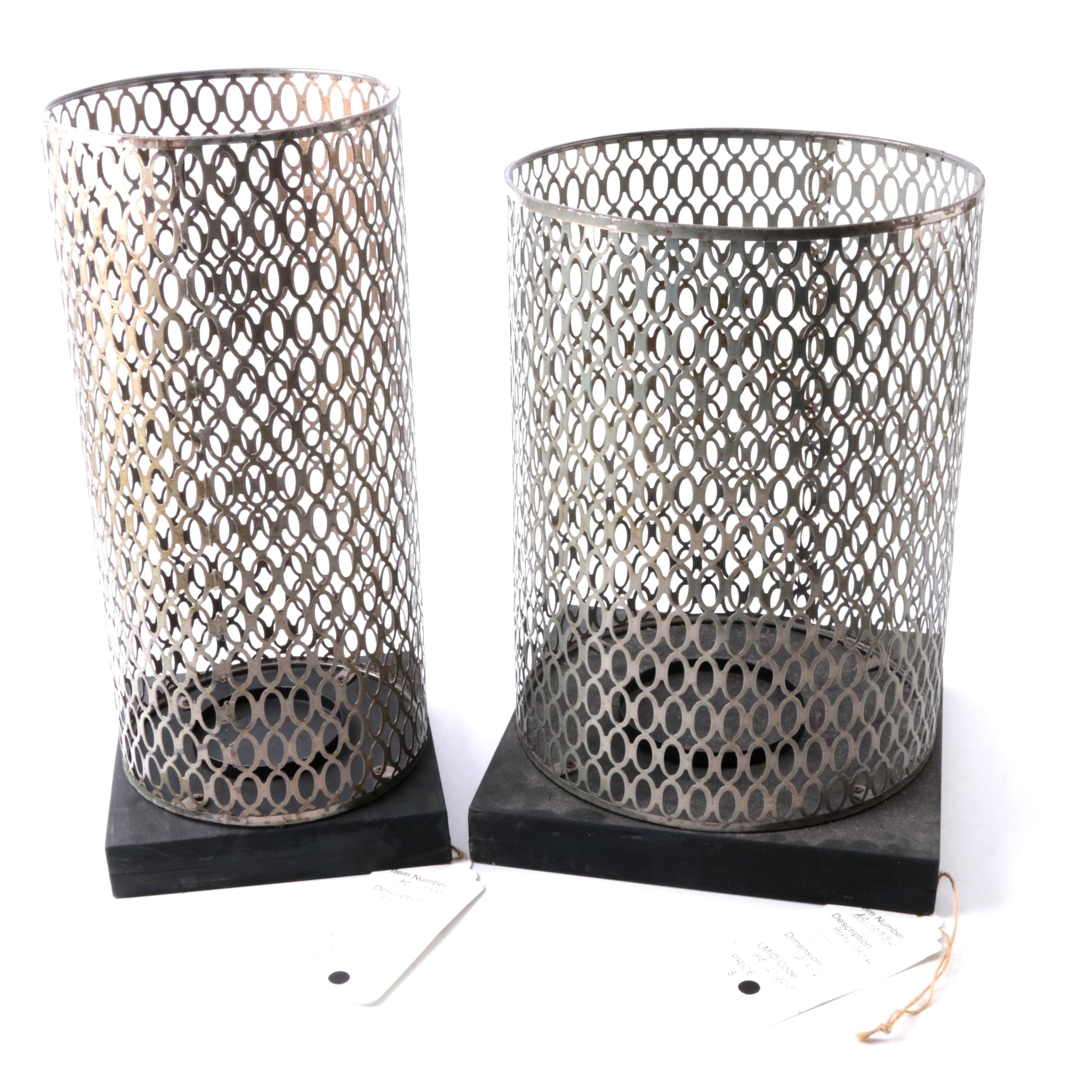 Pair of Metal Hurricane Pillar Candle Holders
