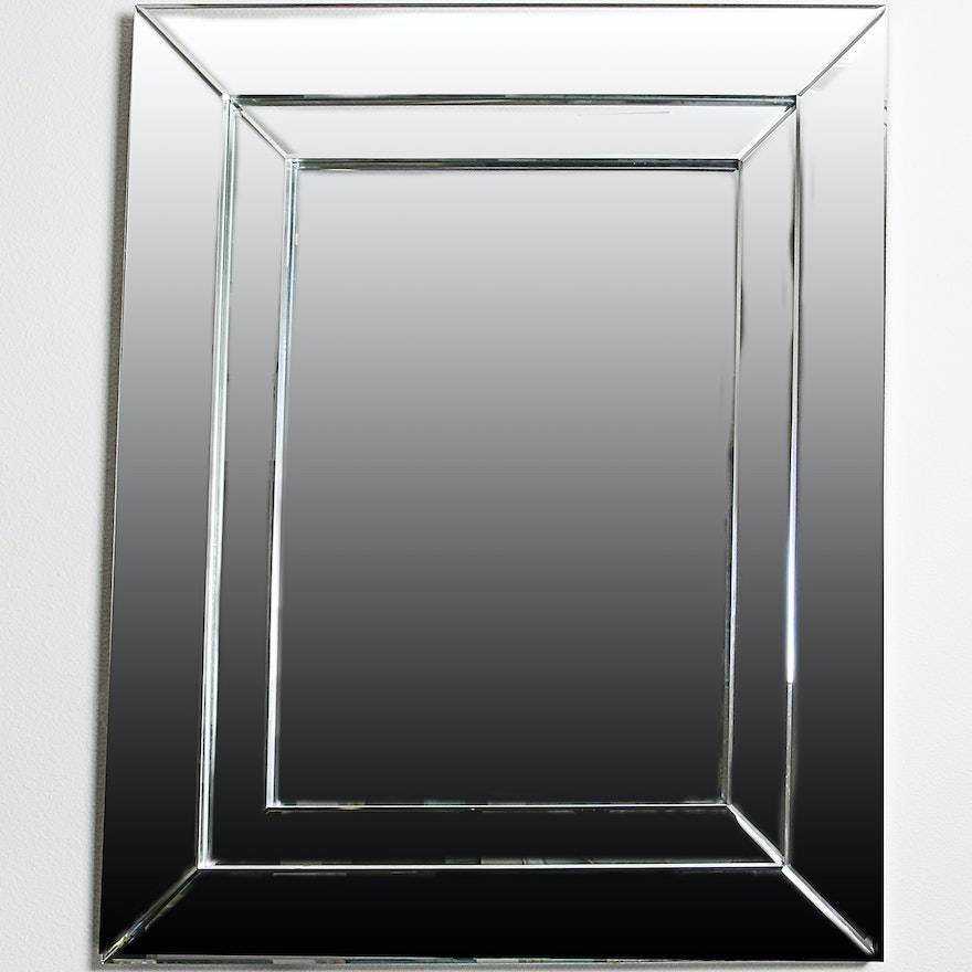 Contemporary Mirrored Frame With Beveled Wall Mirror Ebth