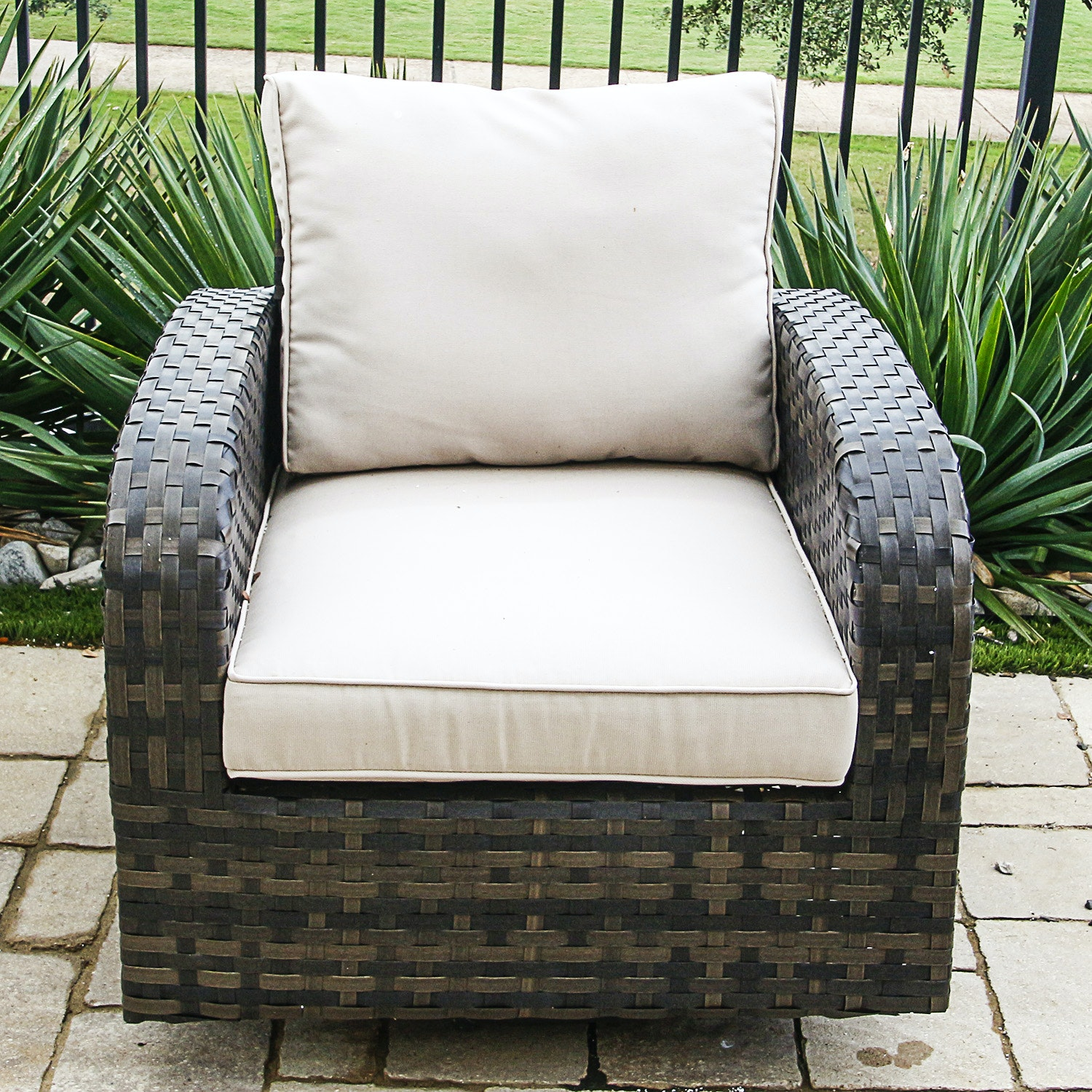 Contemporary Woven Patio Chair with Upholstered Cushions