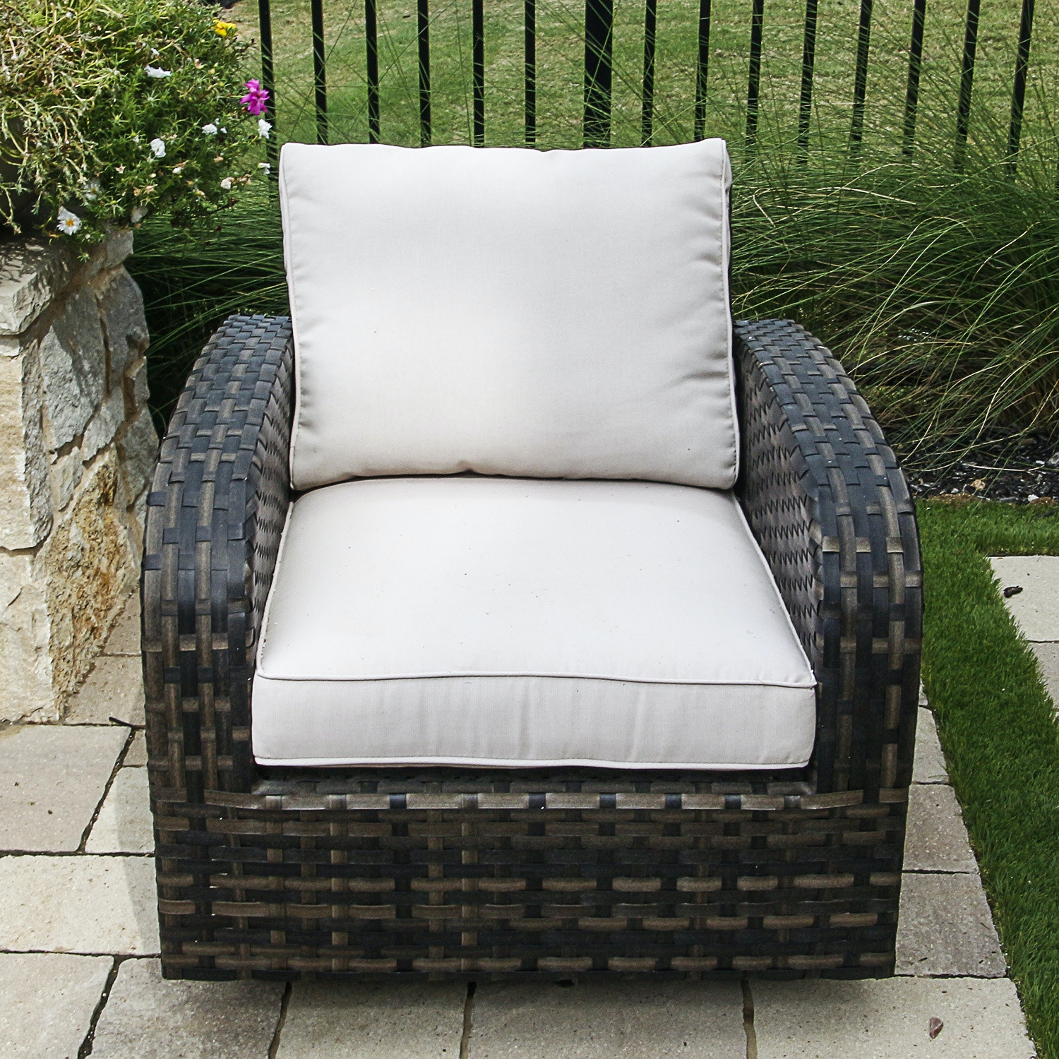 Faux Wicker Patio Chair with Cream Upholstered Cushions