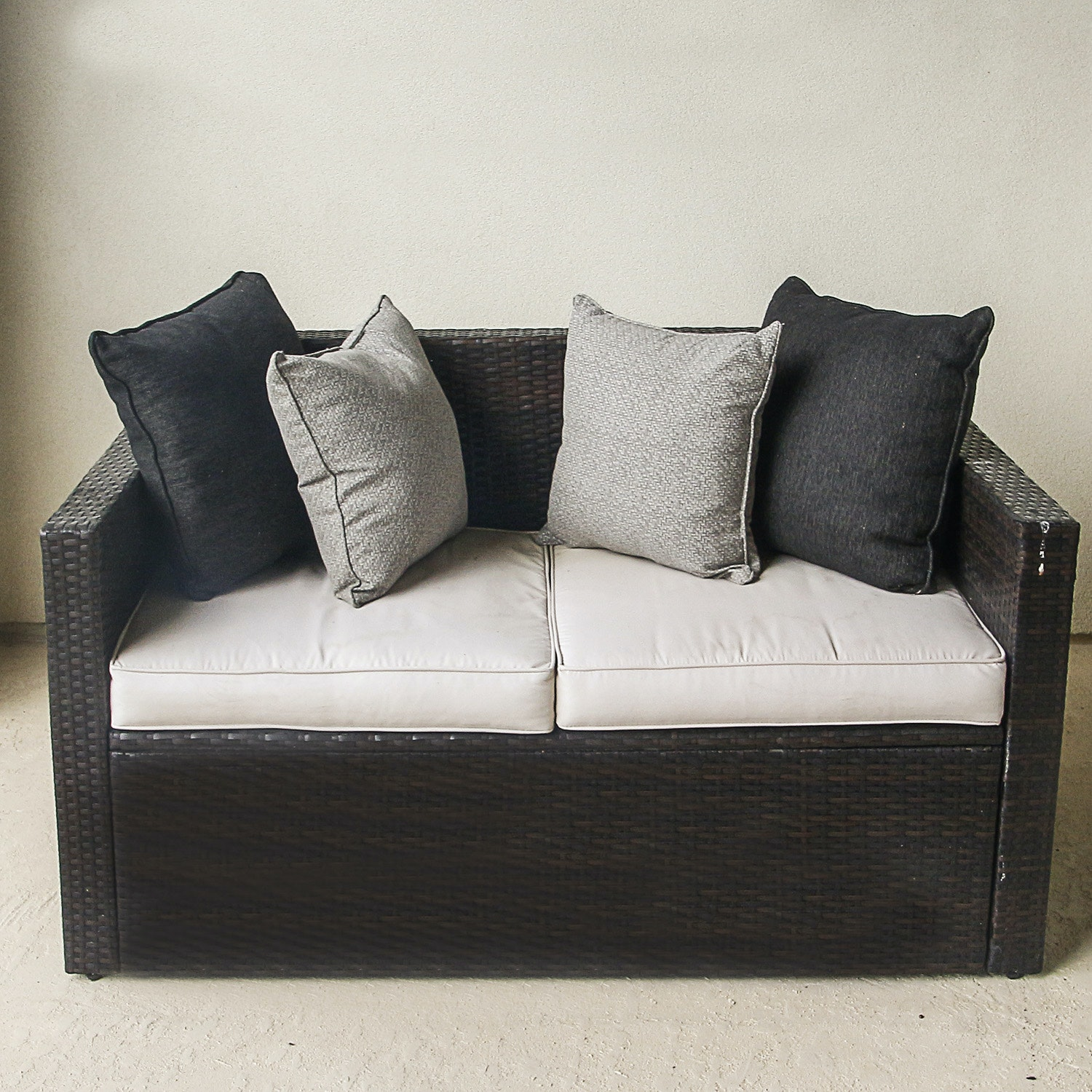 Crosley Furniture Faux Brown Wicker Love Seat with Cushions