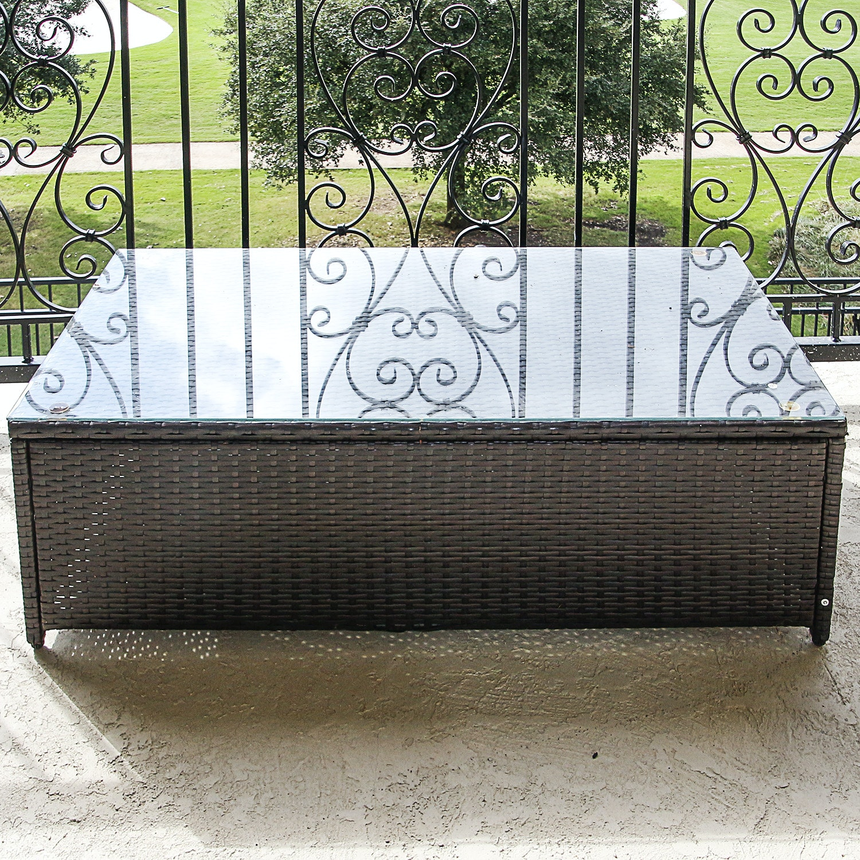 Crosley Furniture Glass Top Patio Coffee Table