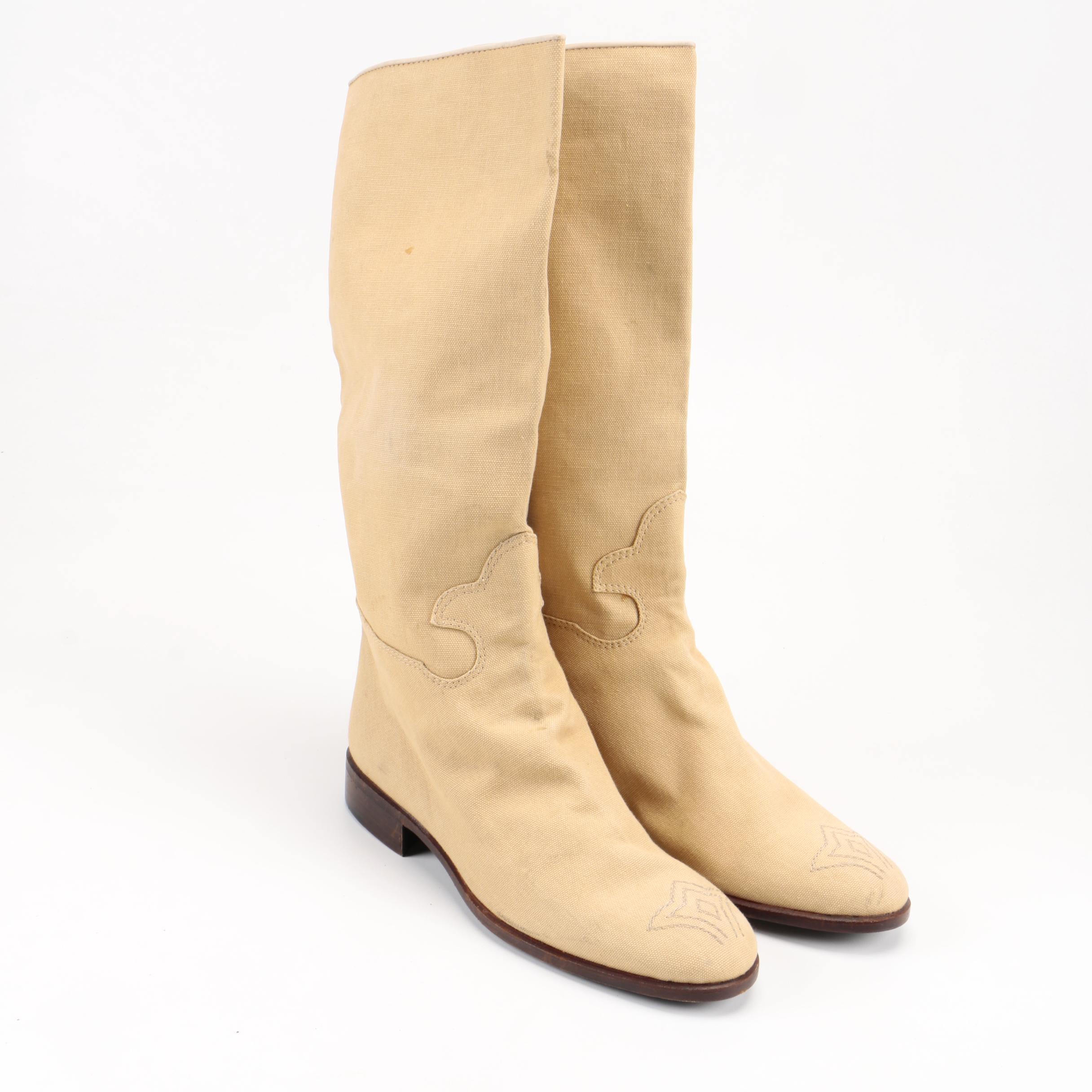 Maud Frizon Tan Canvas Boots