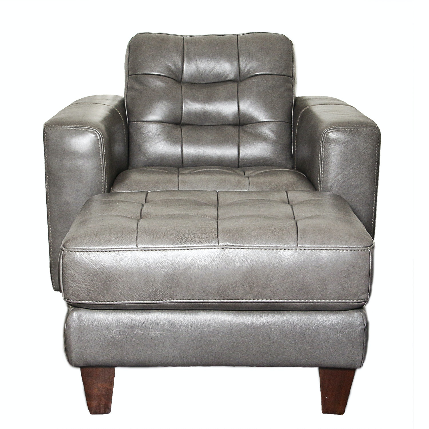 Leather Arm Chair and Ottoman