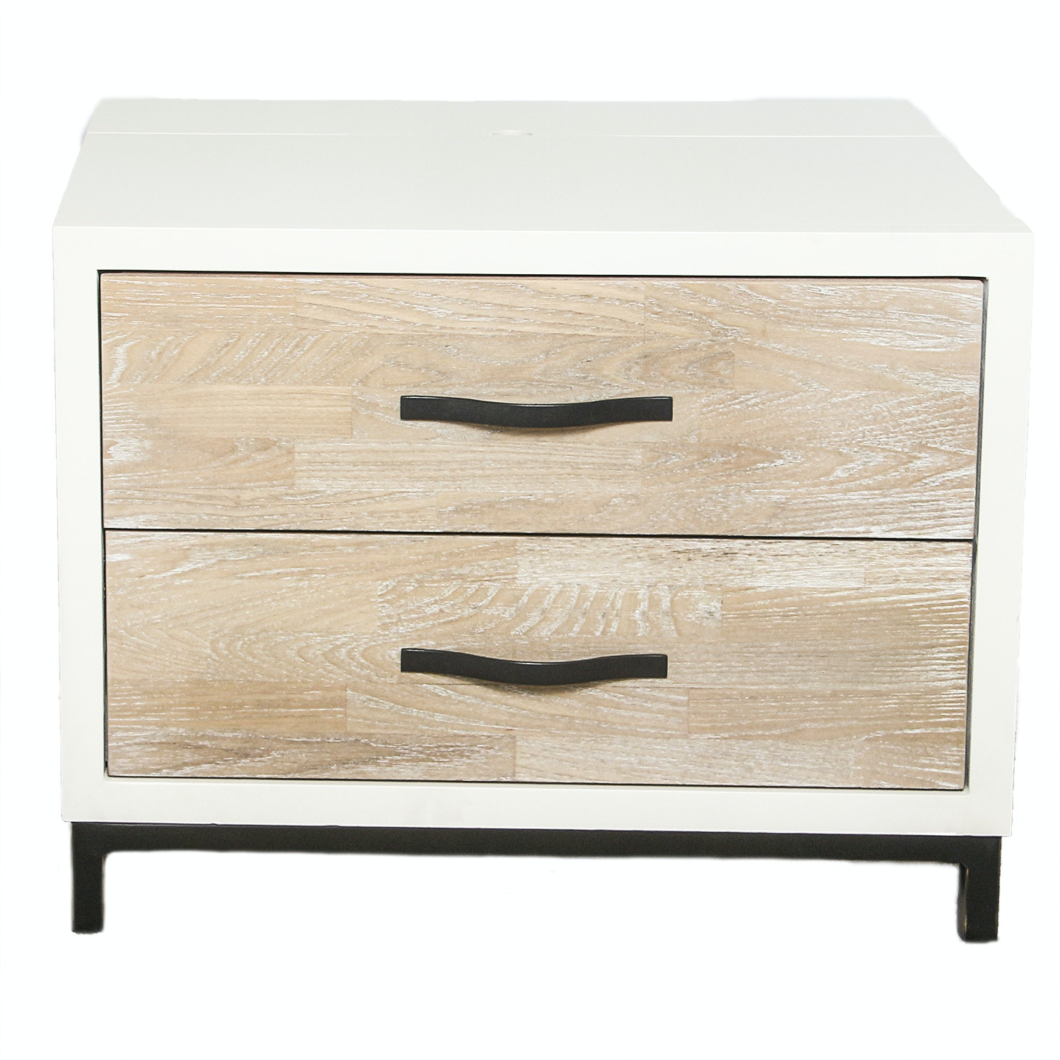 White and Natural Wood Nightstand by Universal