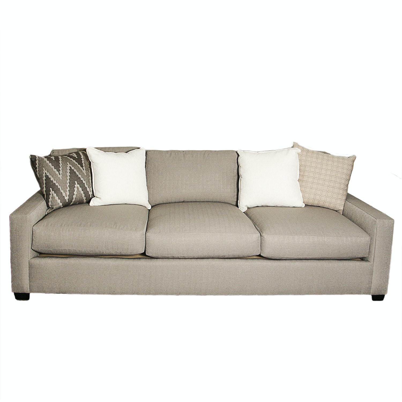 Contemporary Gray-Upholstered Sofa